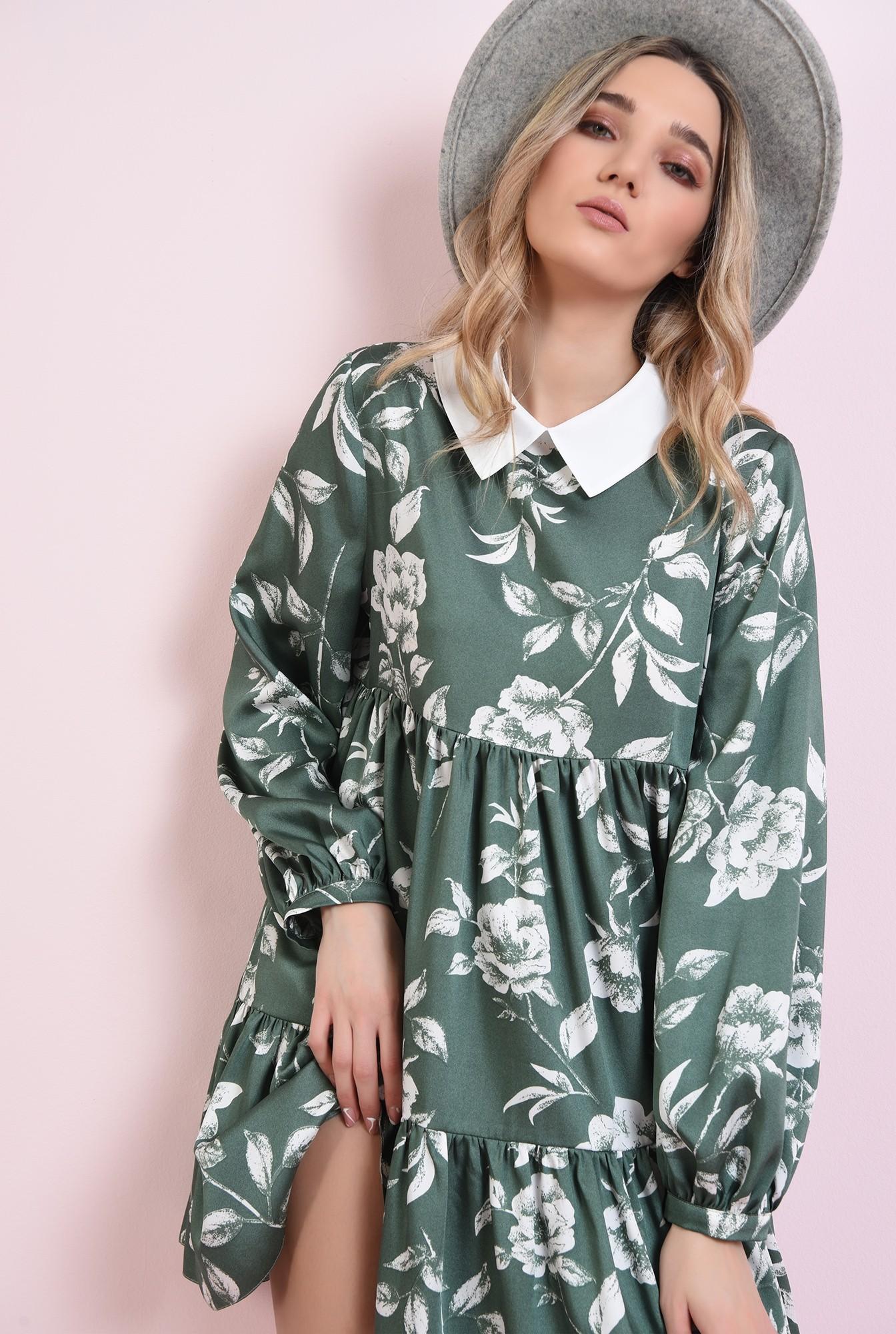 3 - rochie cu guler in contrast, cu volan