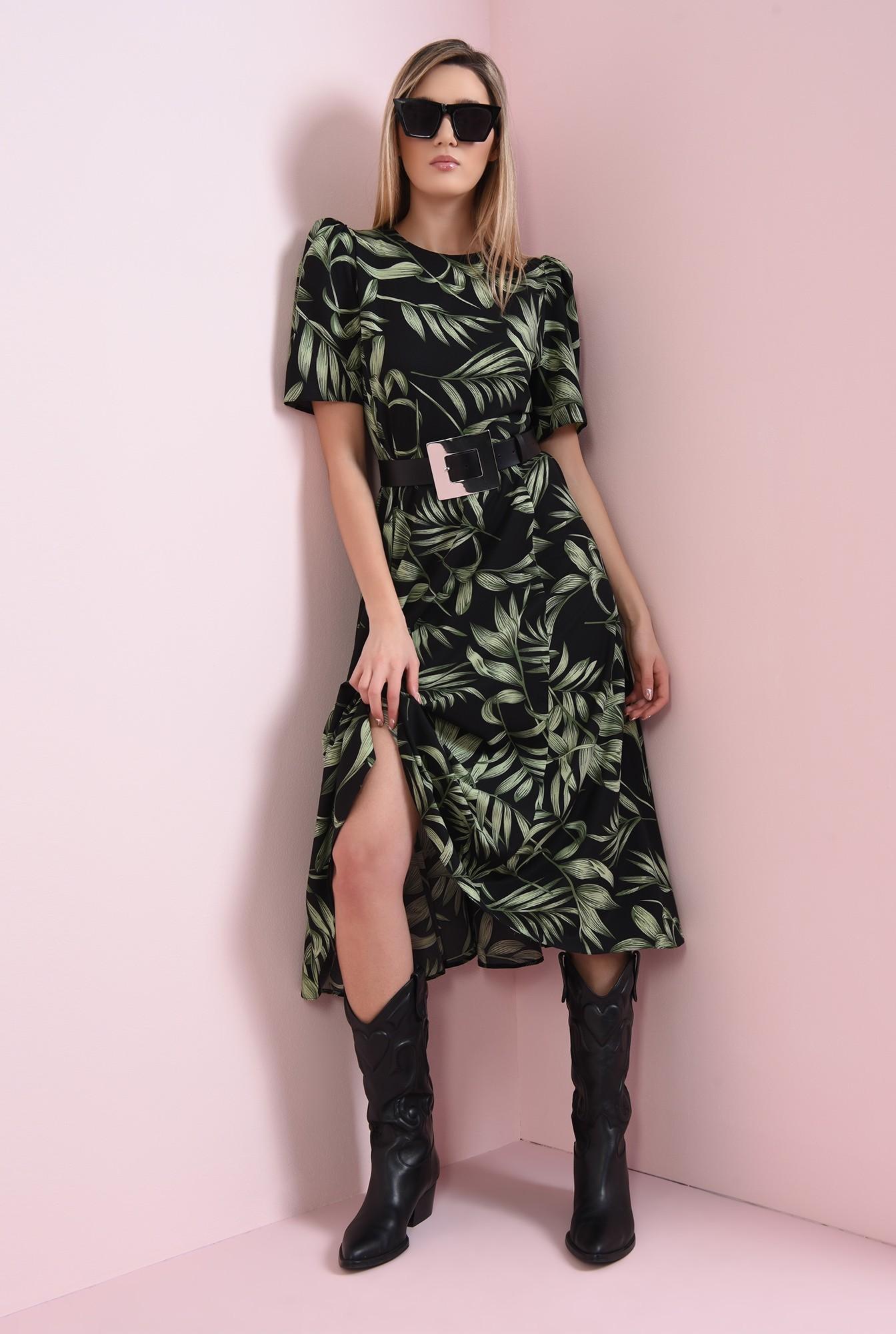 0 - rochie cu imprimeu floral, cu maneca scrta