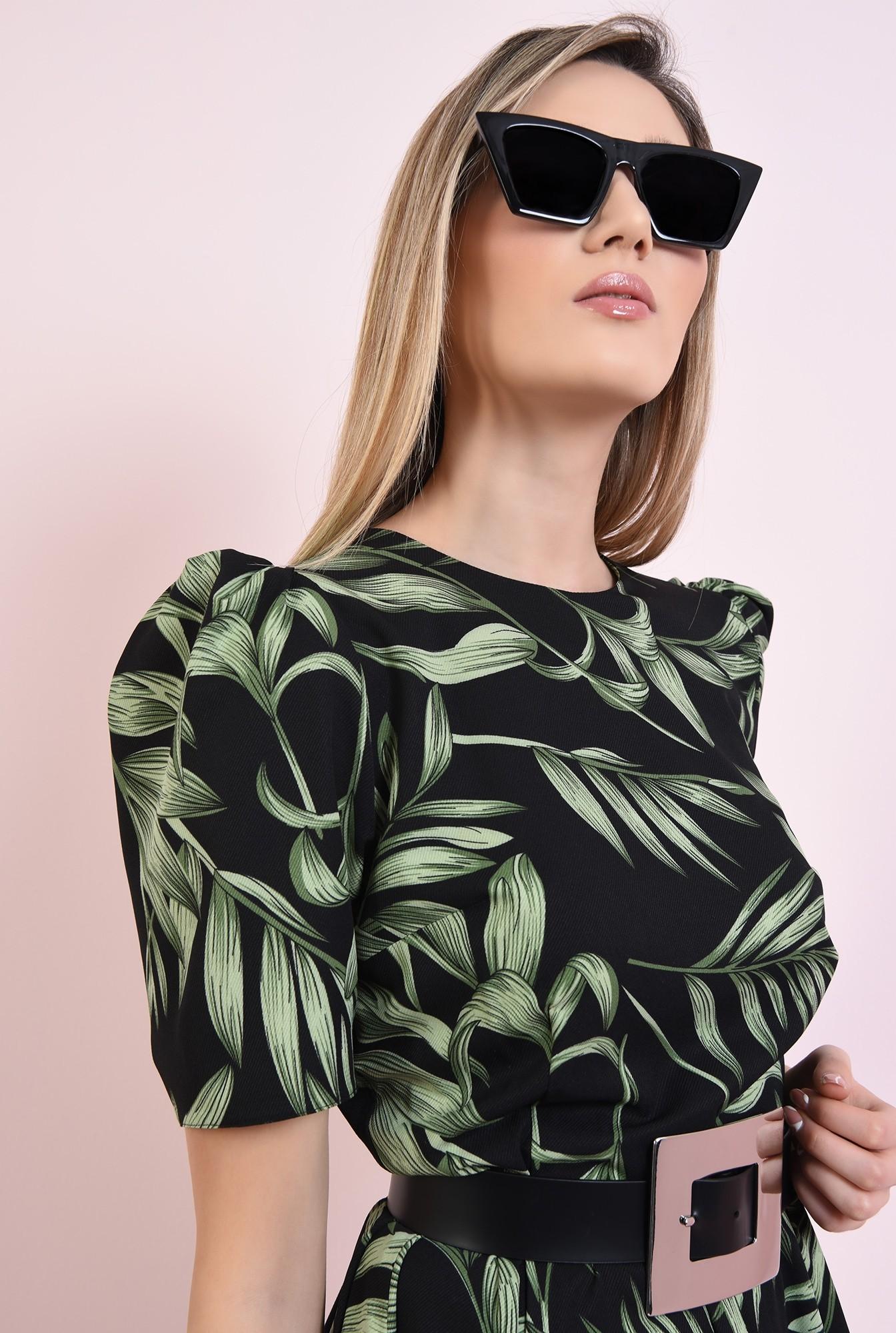 2 - rochie cu imprimeu floral, cu maneca scrta