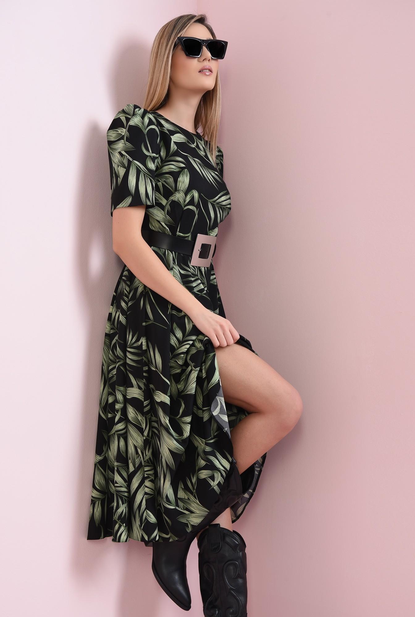 1 - rochie cu imprimeu floral, cu maneca scrta