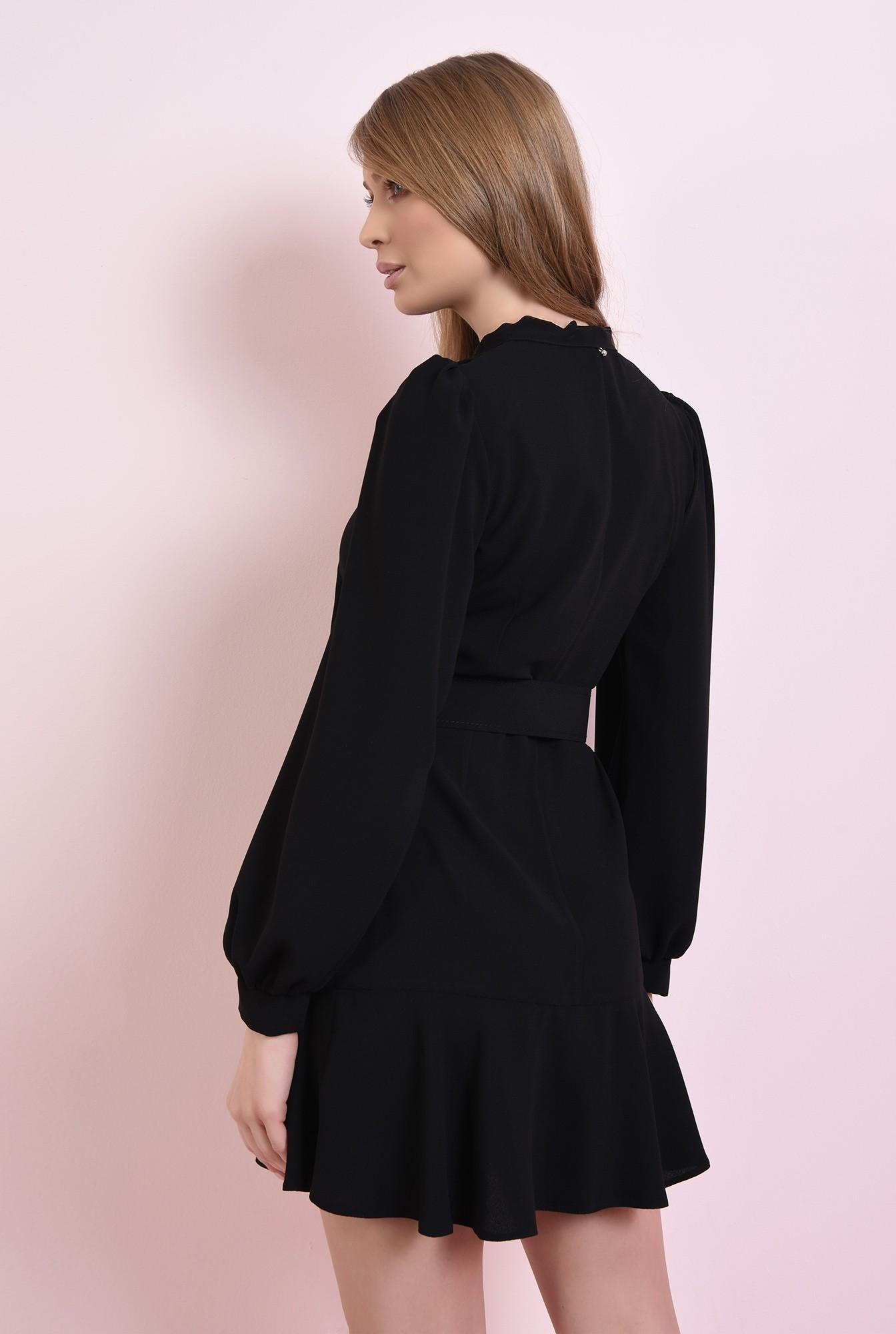 2 - rochie scurta, neagra, cu centura, cu funda