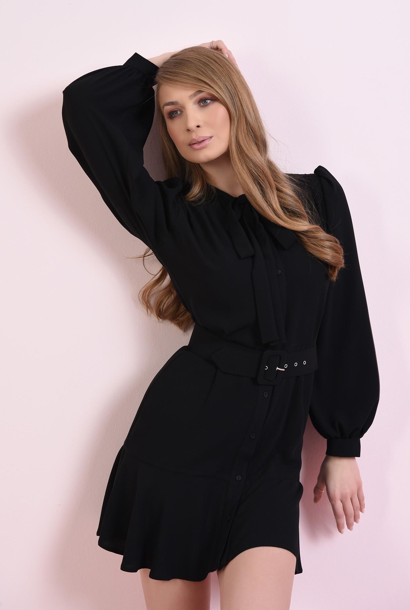 0 - rochie scurta, neagra, cu centura, cu funda