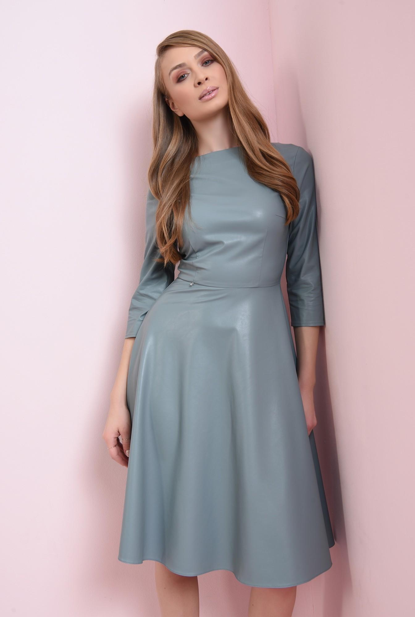 1 - rochie casual, albastra, cu maneca 3/4