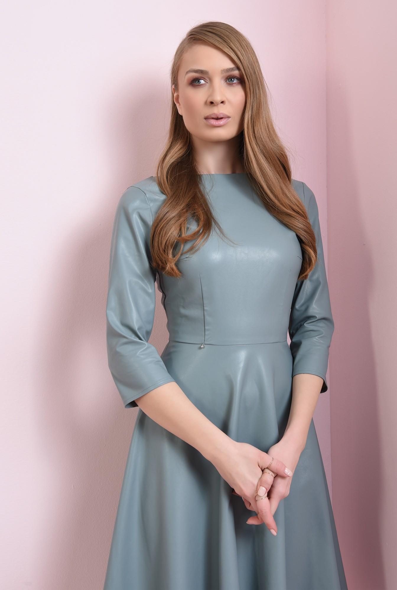 2 - rochie casual, albastra, cu maneca 3/4