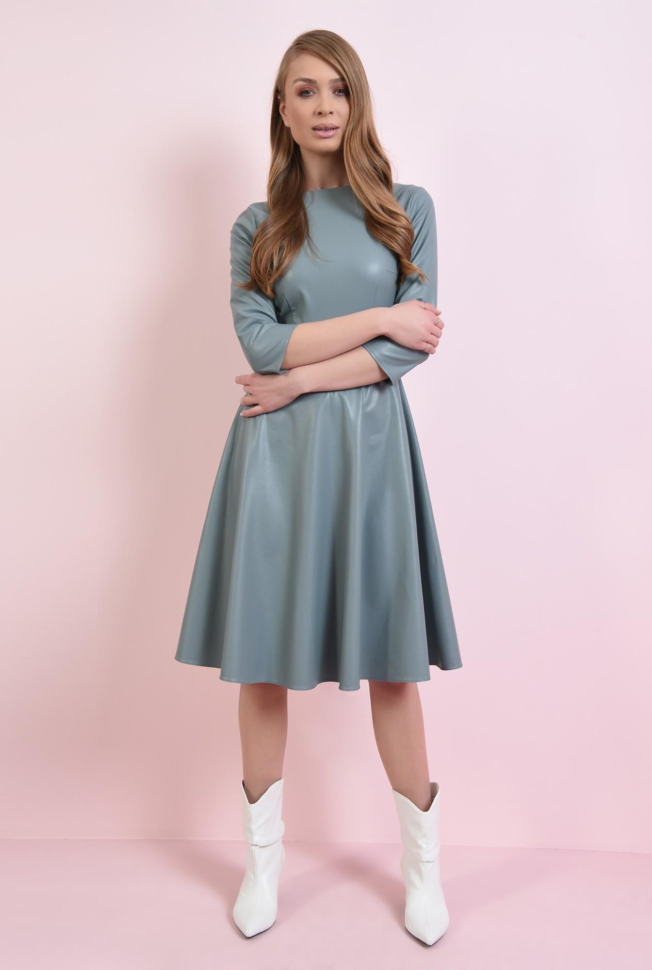 0 - rochie casual, albastra, cu maneca 3/4