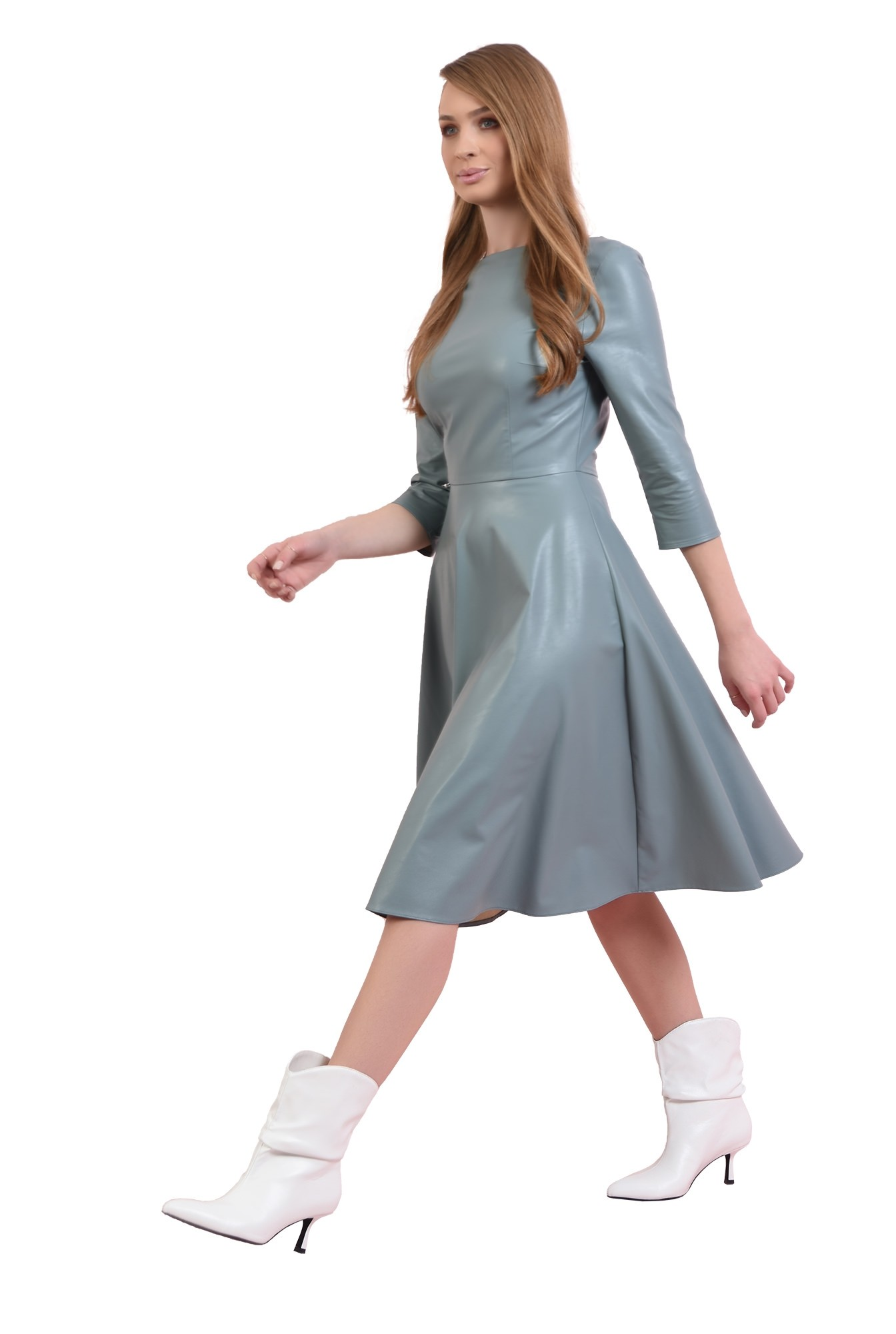 3 - rochie casual, albastra, cu maneca 3/4