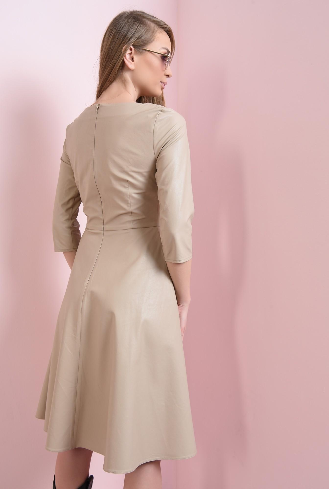 2 - rochie bej, evazata, cu fermoar la spate