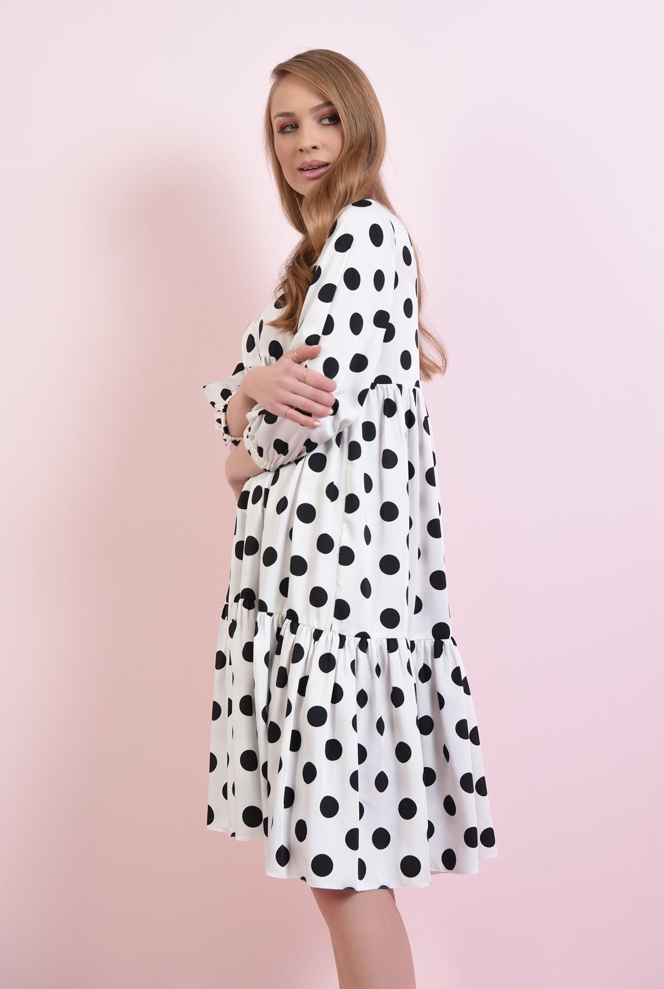 2 - rochie alba, cu buline negre