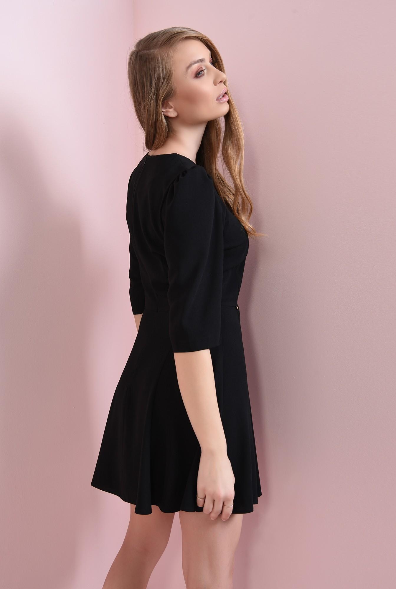 2 - rochie casual, neagra, evazata