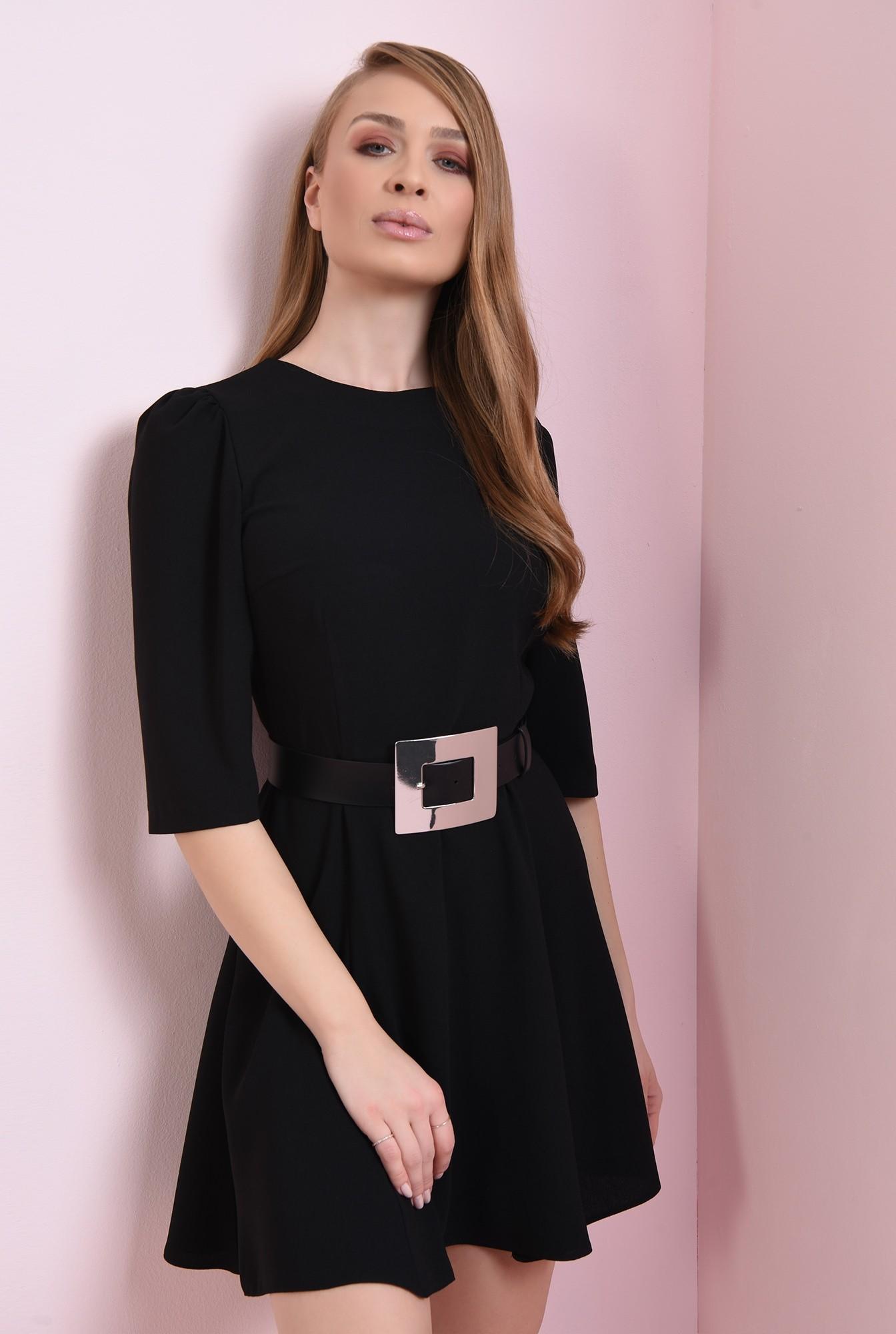 1 - rochie casual, neagra, evazata