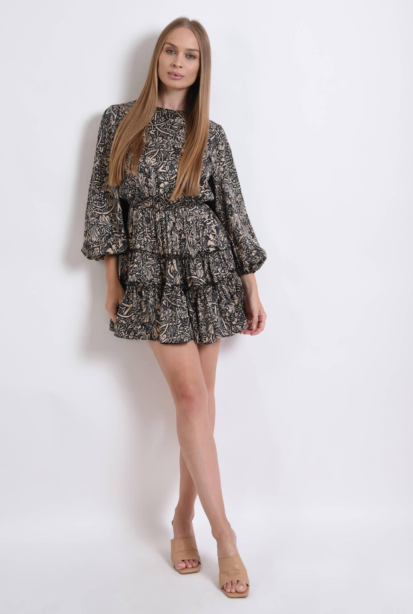 0 - rochie cu imprimeu, scurta, cu maneca voluminoasa
