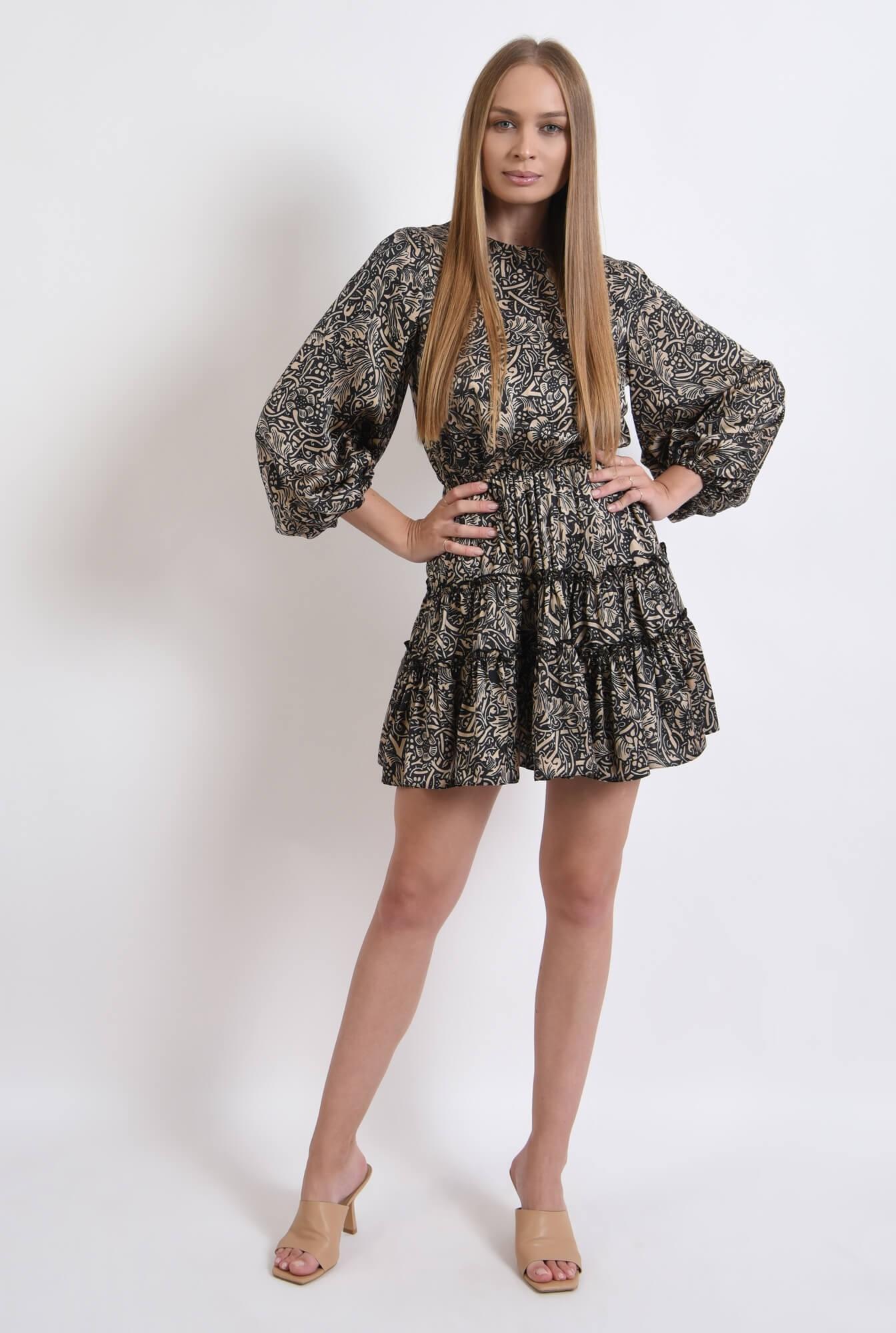 1 - rochie cu imprimeu, scurta, cu maneca voluminoasa