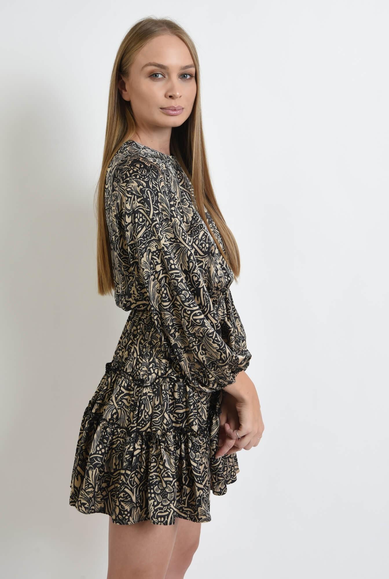 2 - rochie cu imprimeu, scurta, cu maneca voluminoasa
