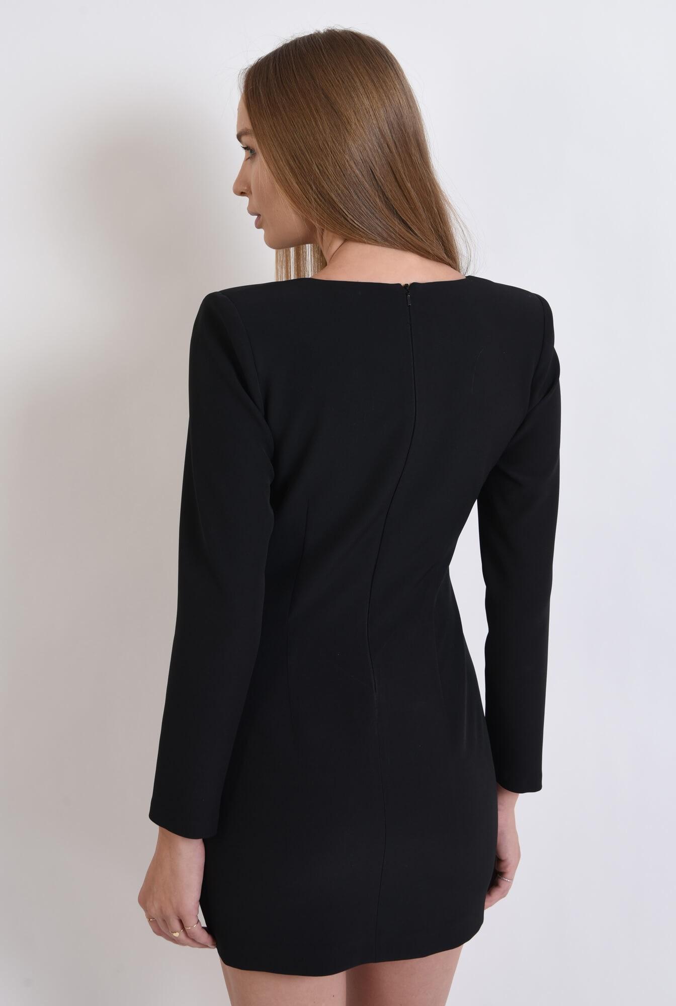 1 - rochie casual, neagra, cu nasturi multipli