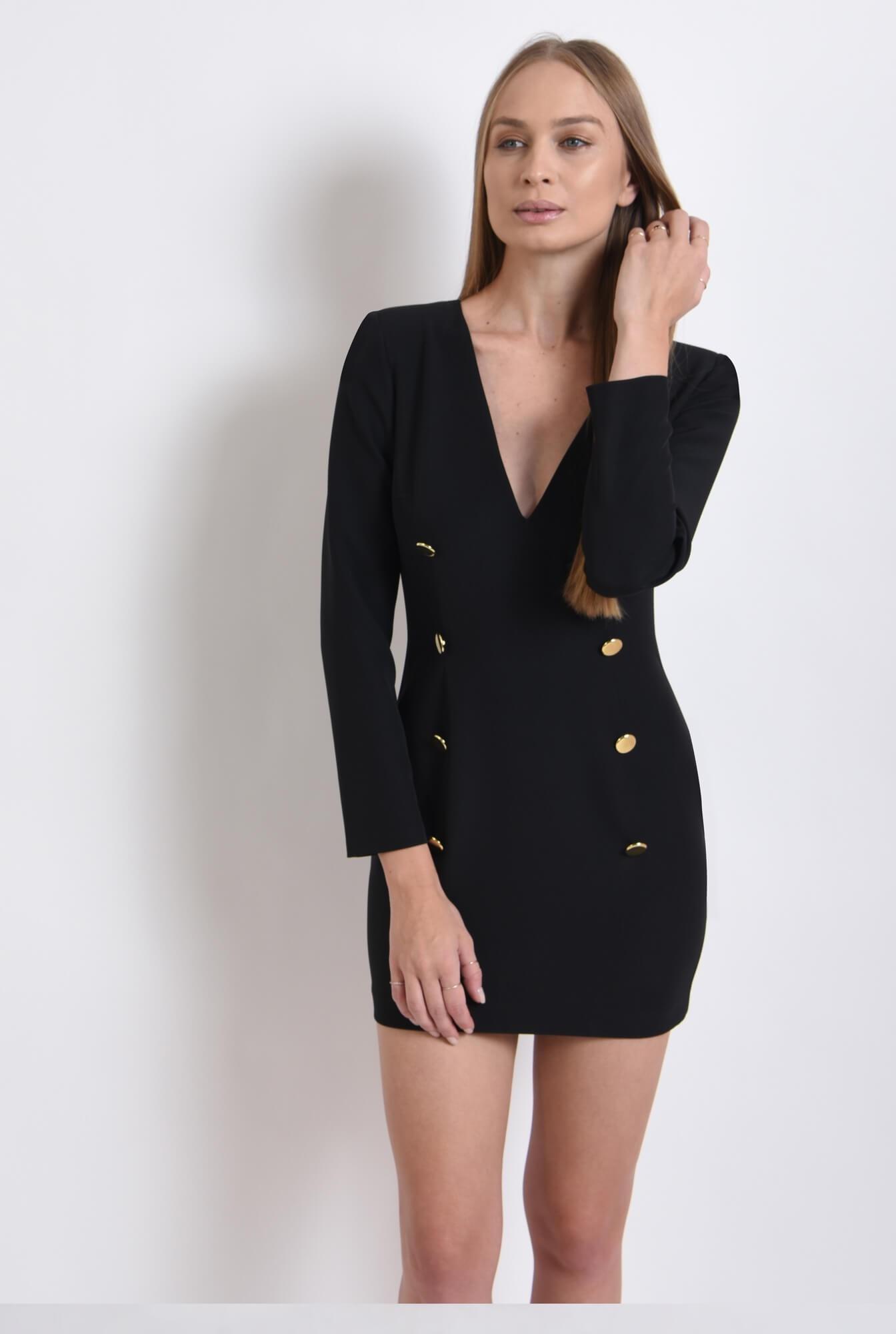 0 - rochie casual, neagra, cu nasturi multipli