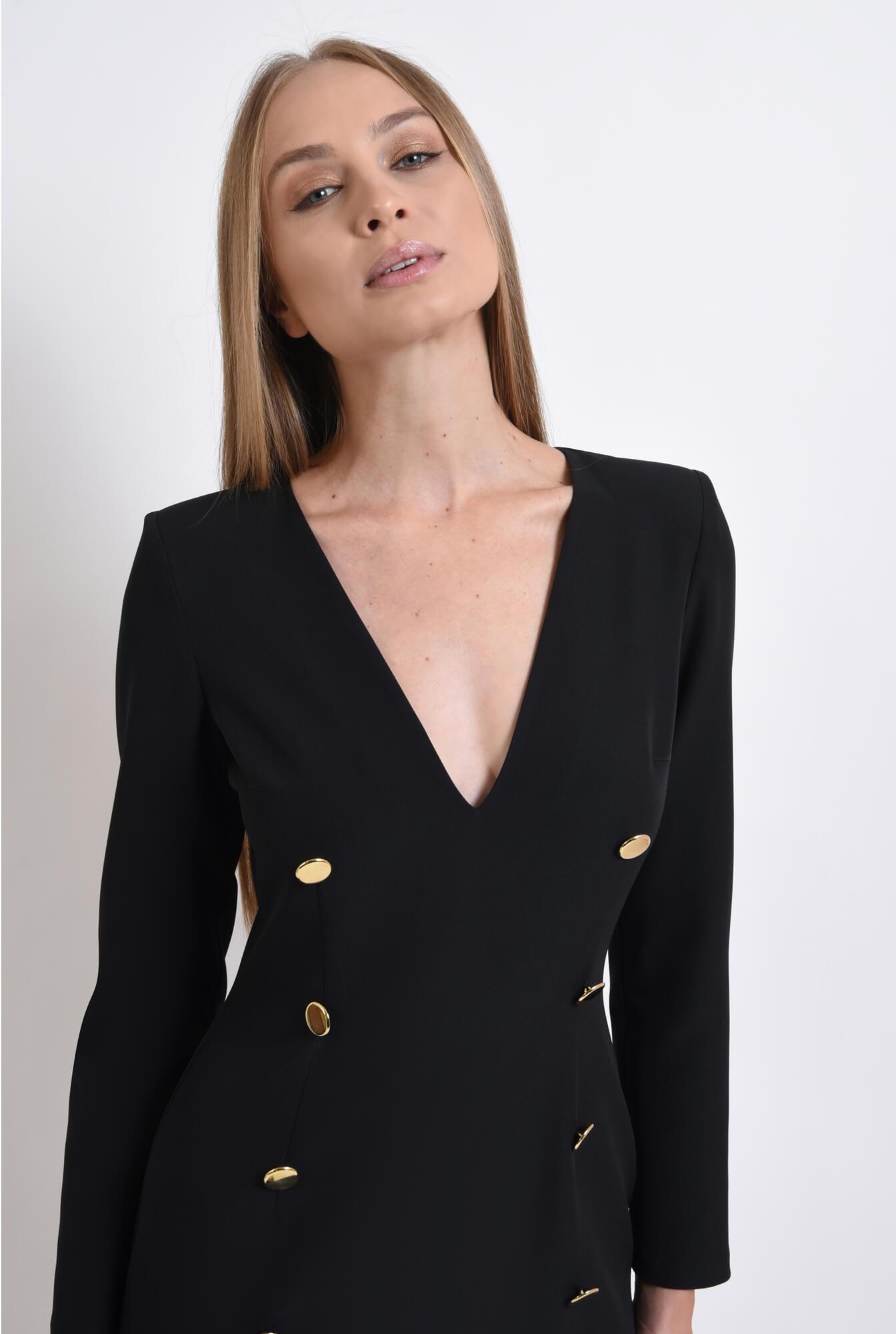 2 - rochie casual, neagra, cu nasturi multipli