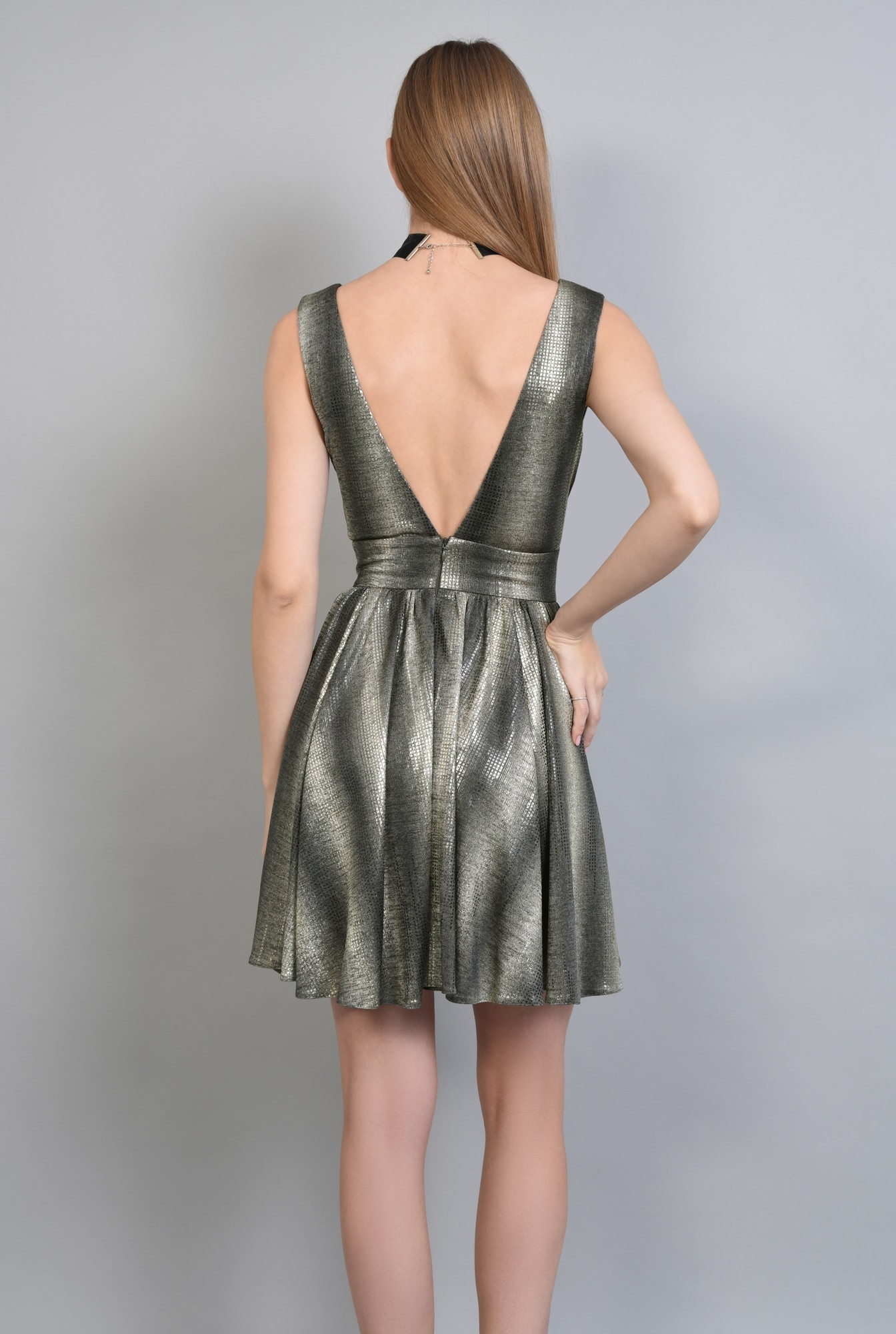 1 - Rochie eleganta scurta, auriu