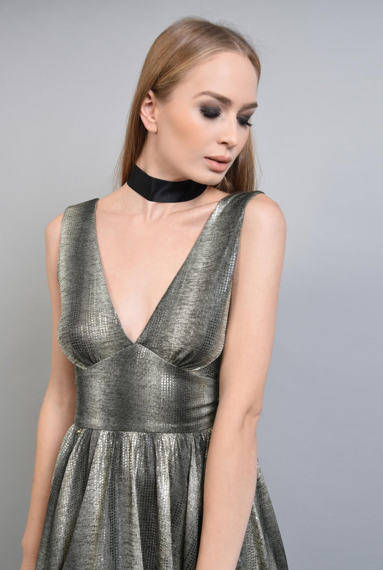 2 - Rochie eleganta scurta, auriu