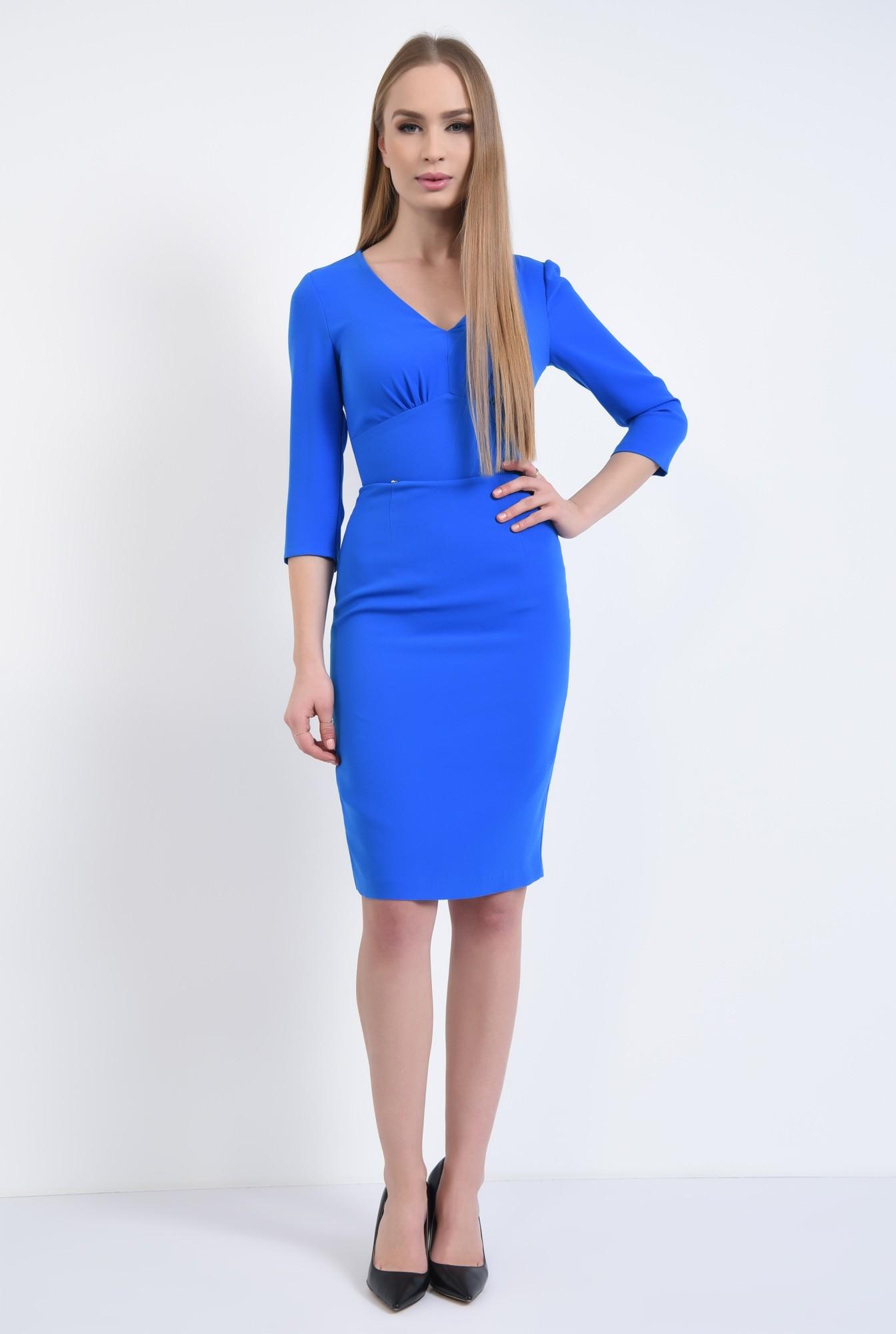 3 - Rochie casual midi, albastra