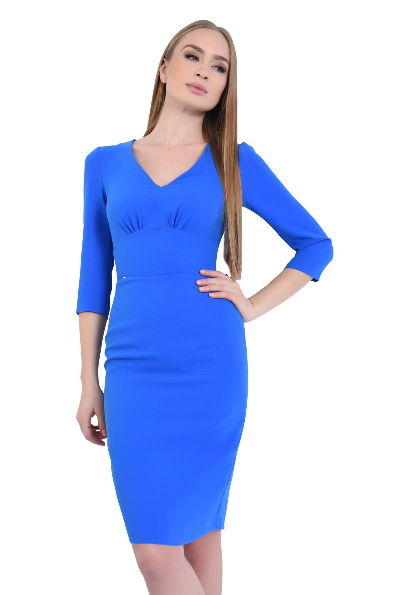 0 - Rochie casual midi, albastra