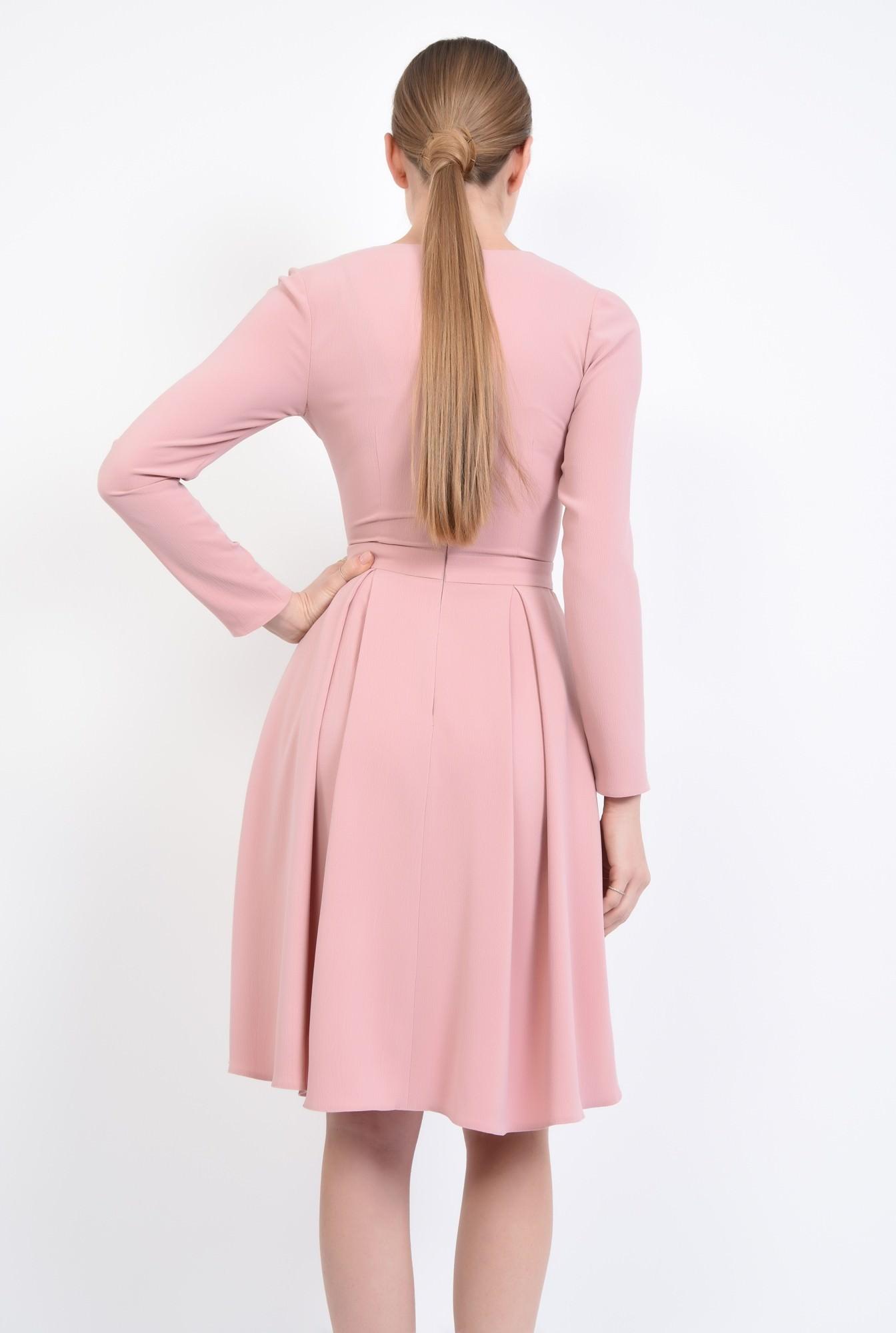 1 - Rochie de zi evazata, roz