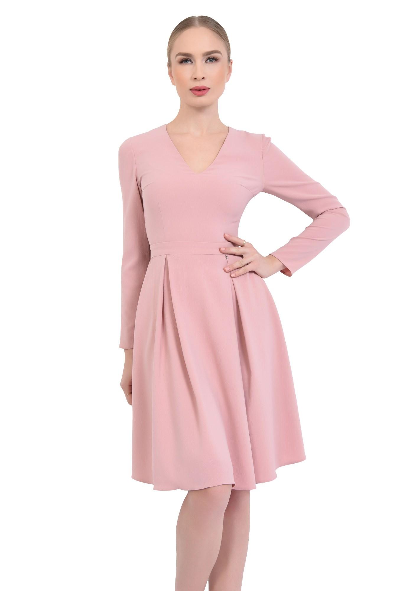 0 - Rochie de zi evazata, roz