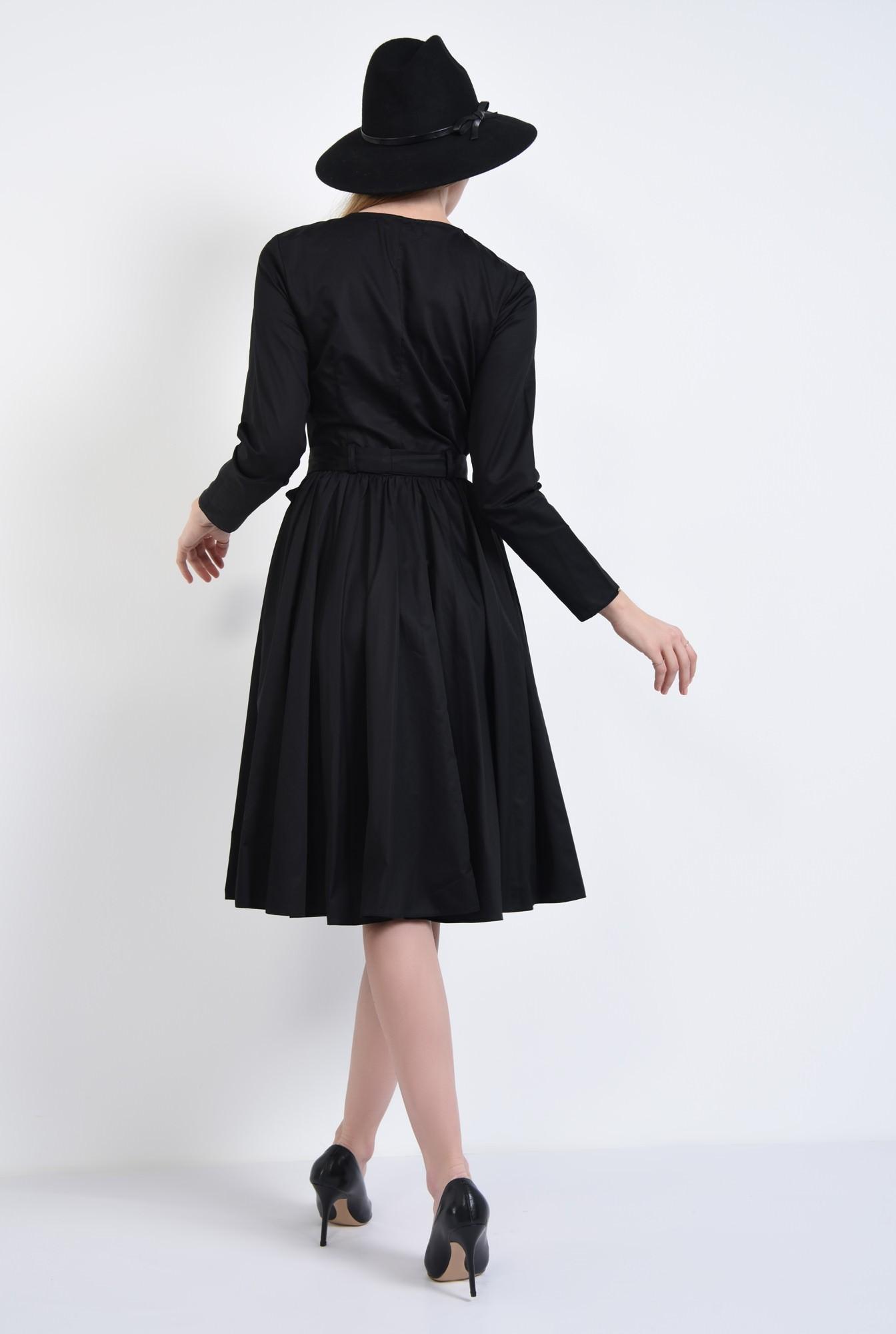 1 - Rochie casual neagra, midi
