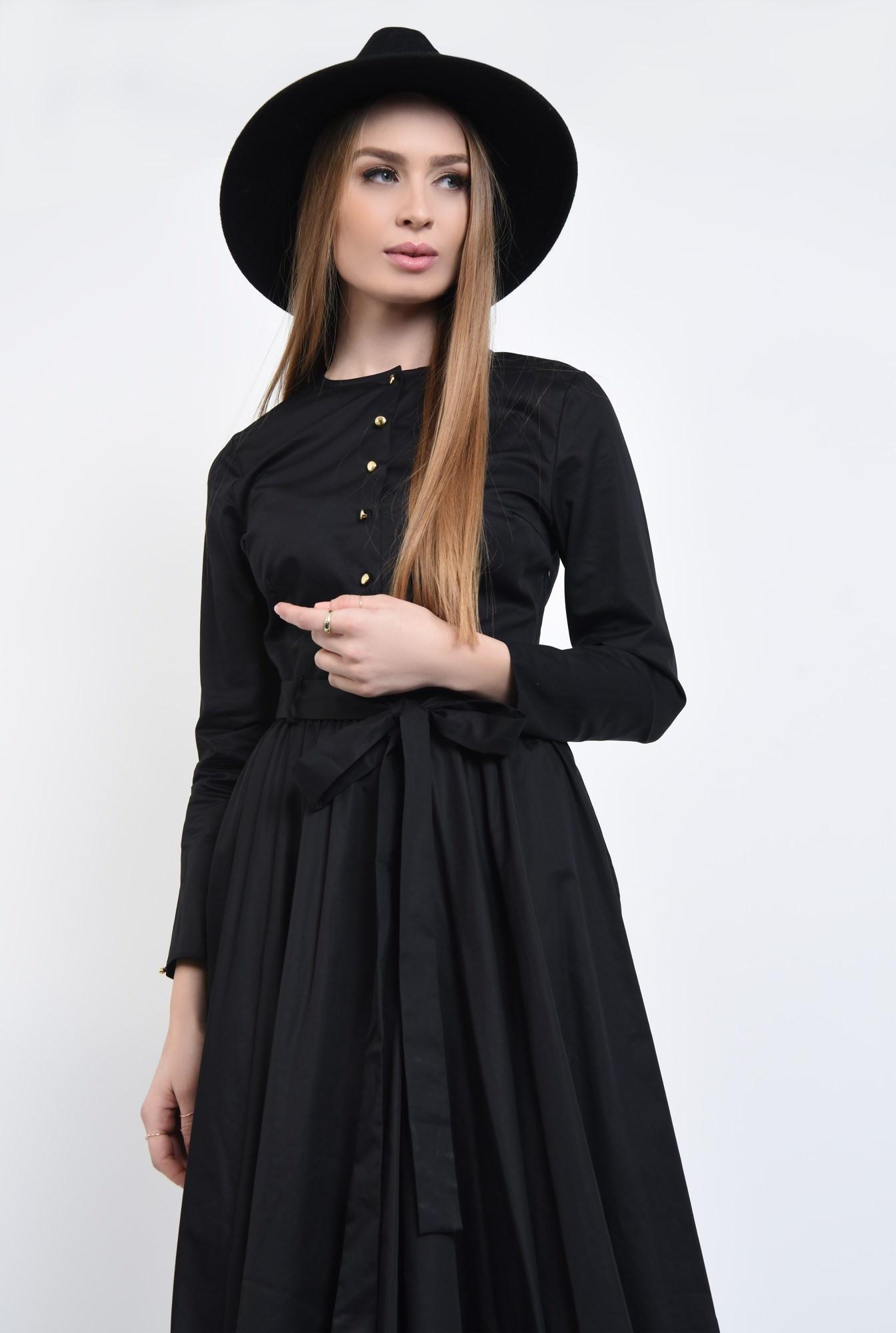 2 - Rochie casual neagra, midi