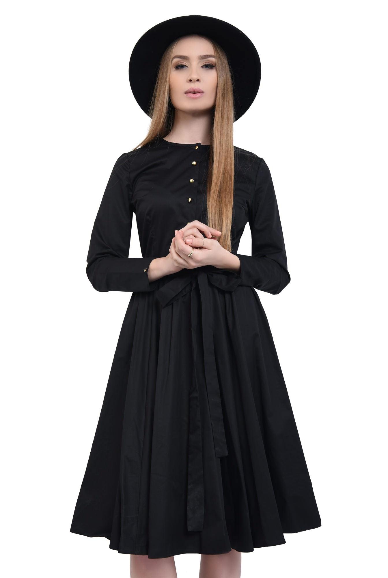 0 - Rochie casual neagra, midi