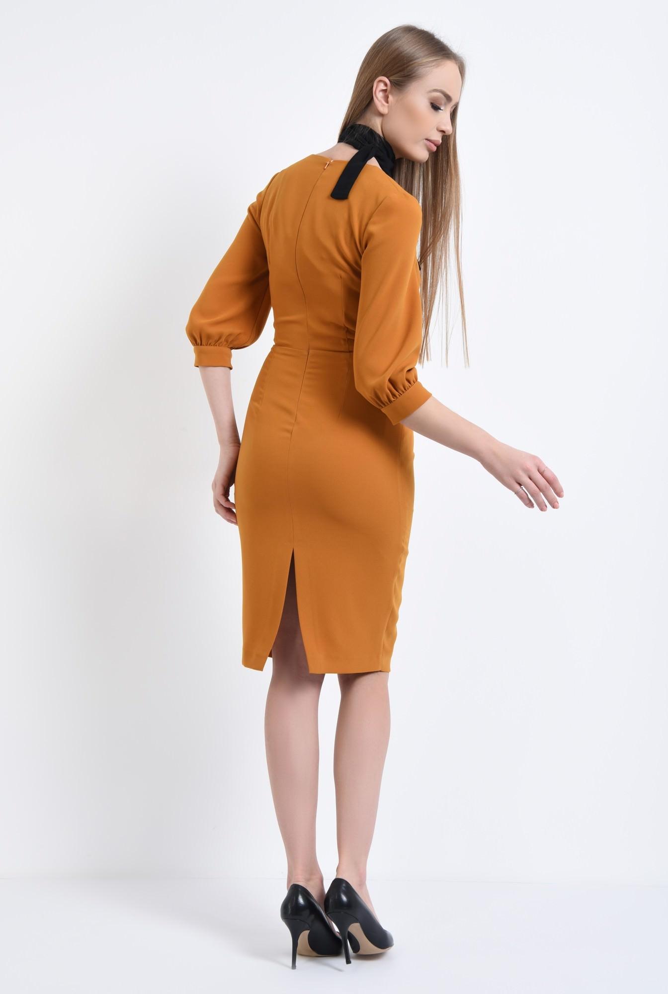 1 - 360 - Rochie casual mustar, fermoar, rochii de dama online