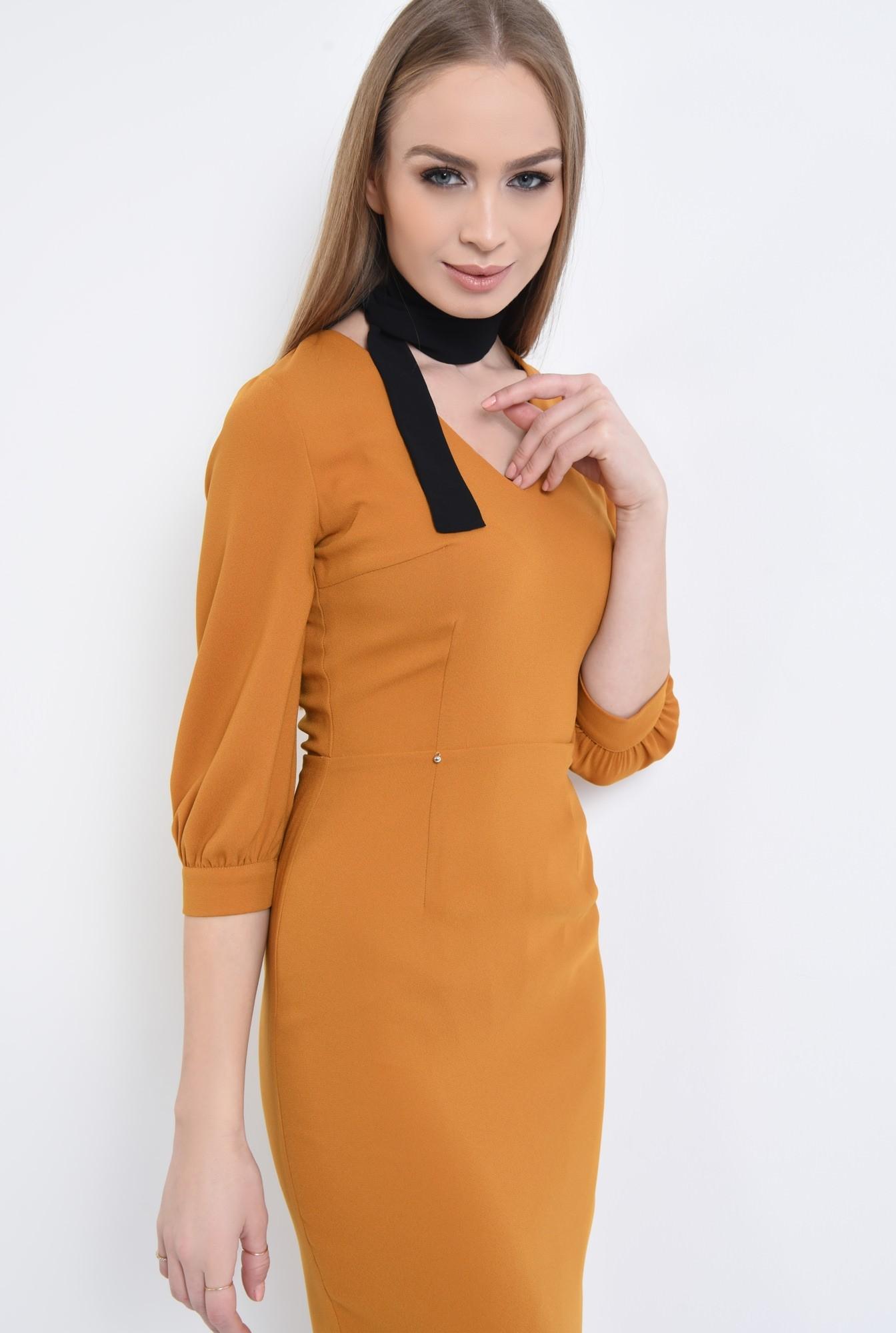 2 - 360 - Rochie casual mustar, fermoar, rochii de dama online