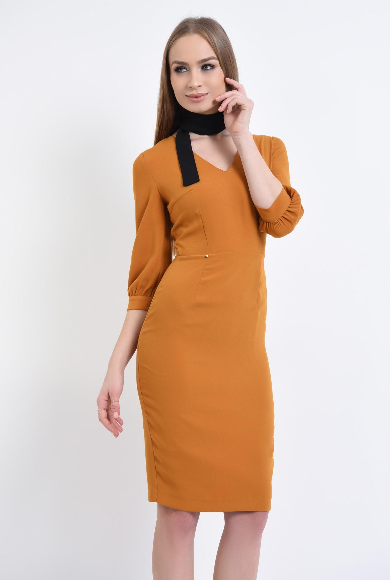0 - 360 - Rochie casual mustar, fermoar, rochii de dama online