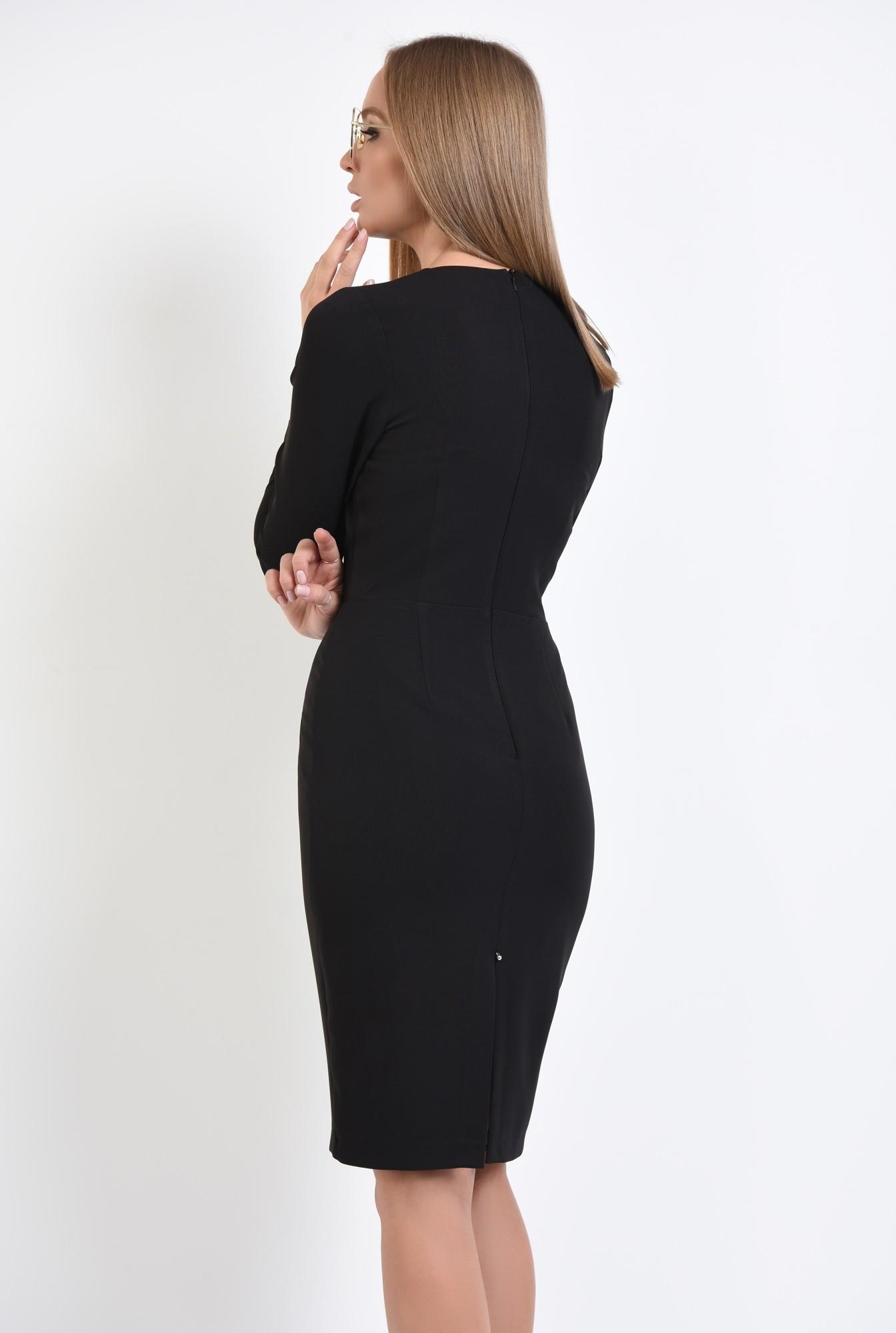 1 - rochie casual, neagra, cambrata, maneci lungi, nasturi metalici