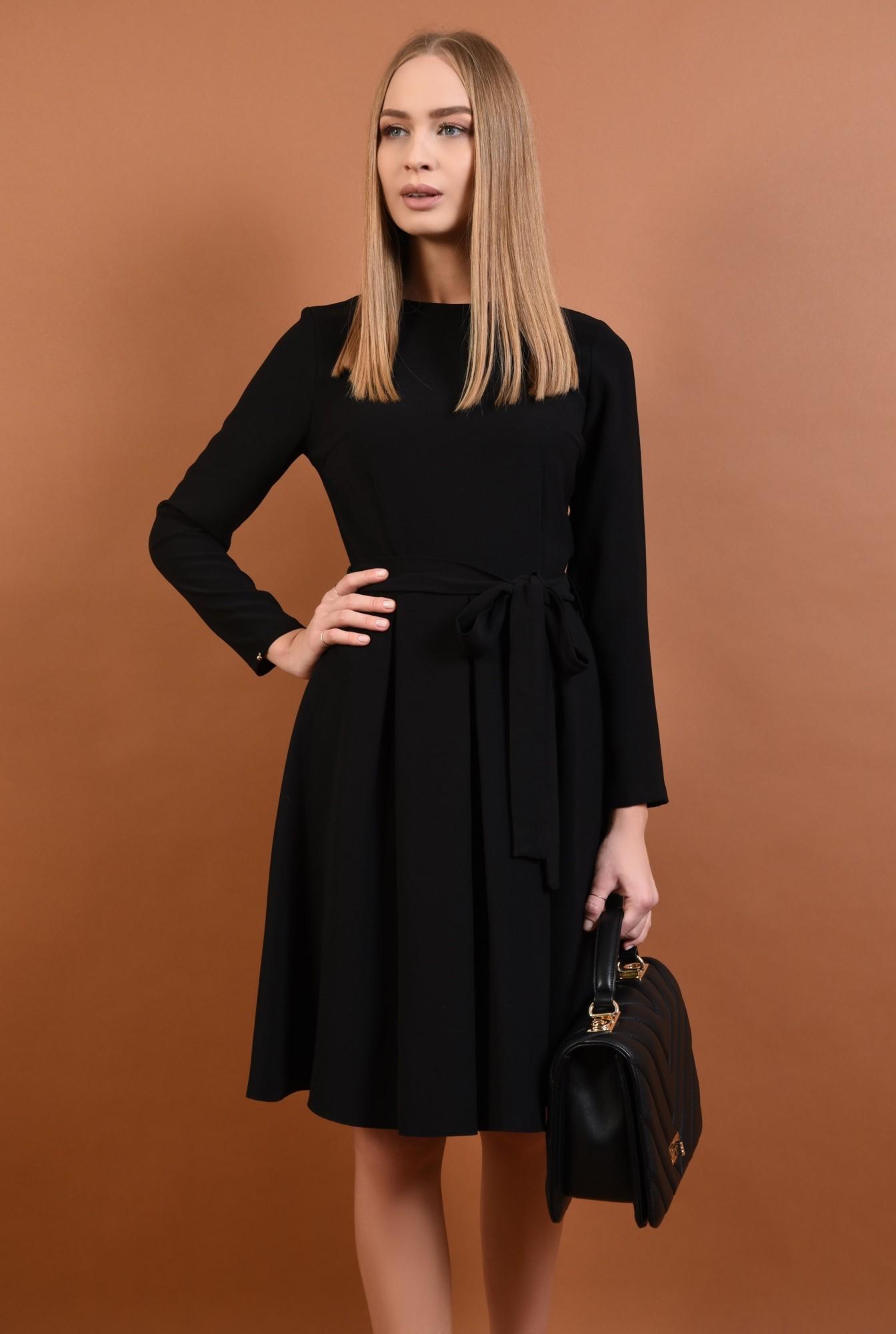 0 - 360 - rochie casual evazata, pliseuri late, cordon, funda, negru