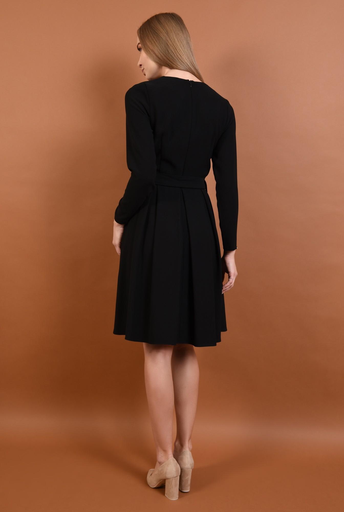 1 - 360 - rochie casual evazata, pliseuri late, cordon, funda, negru