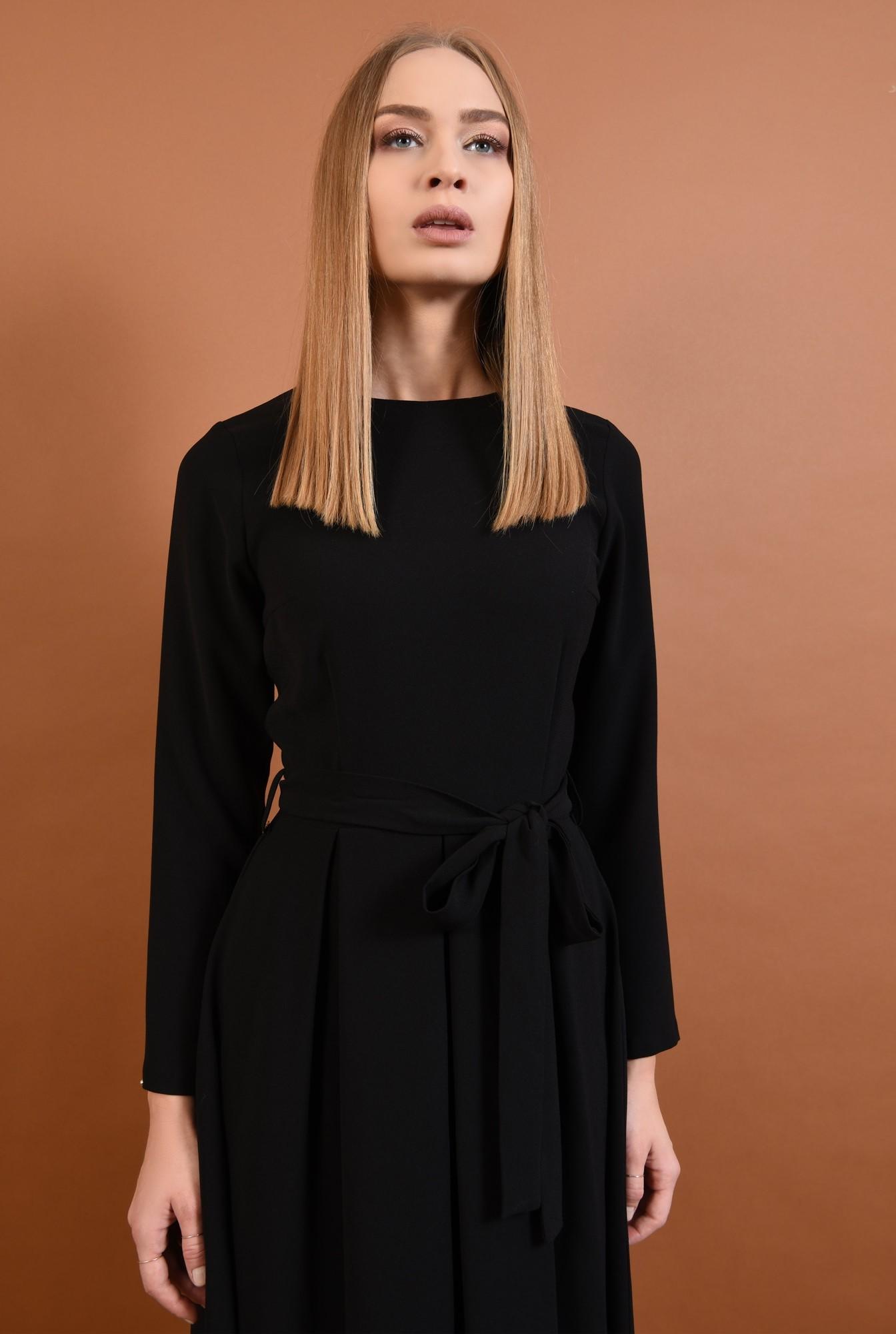 2 - 360 - rochie casual evazata, pliseuri late, cordon, funda, negru
