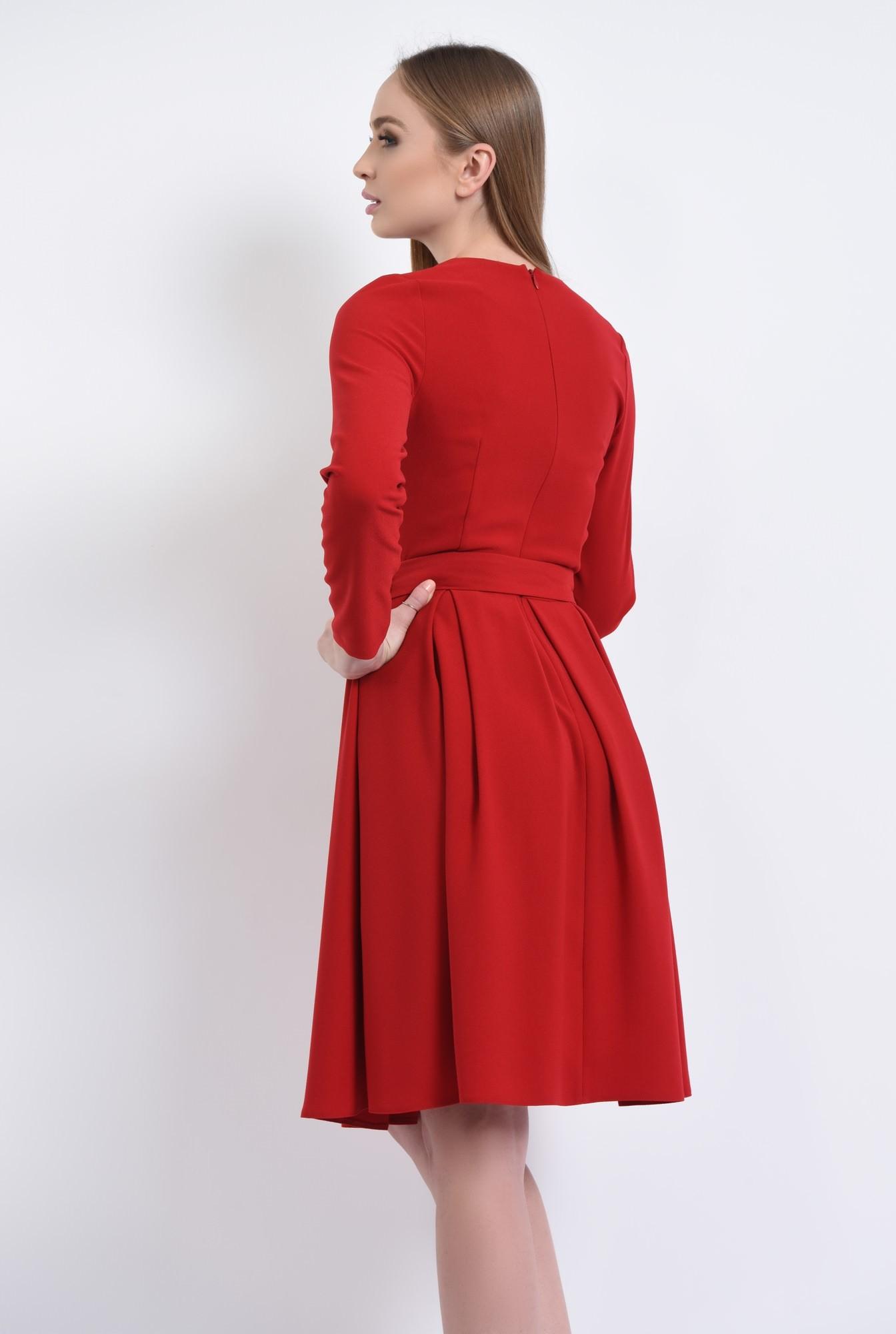 1 - rochie casual, midi, plisata, cordon, rosu