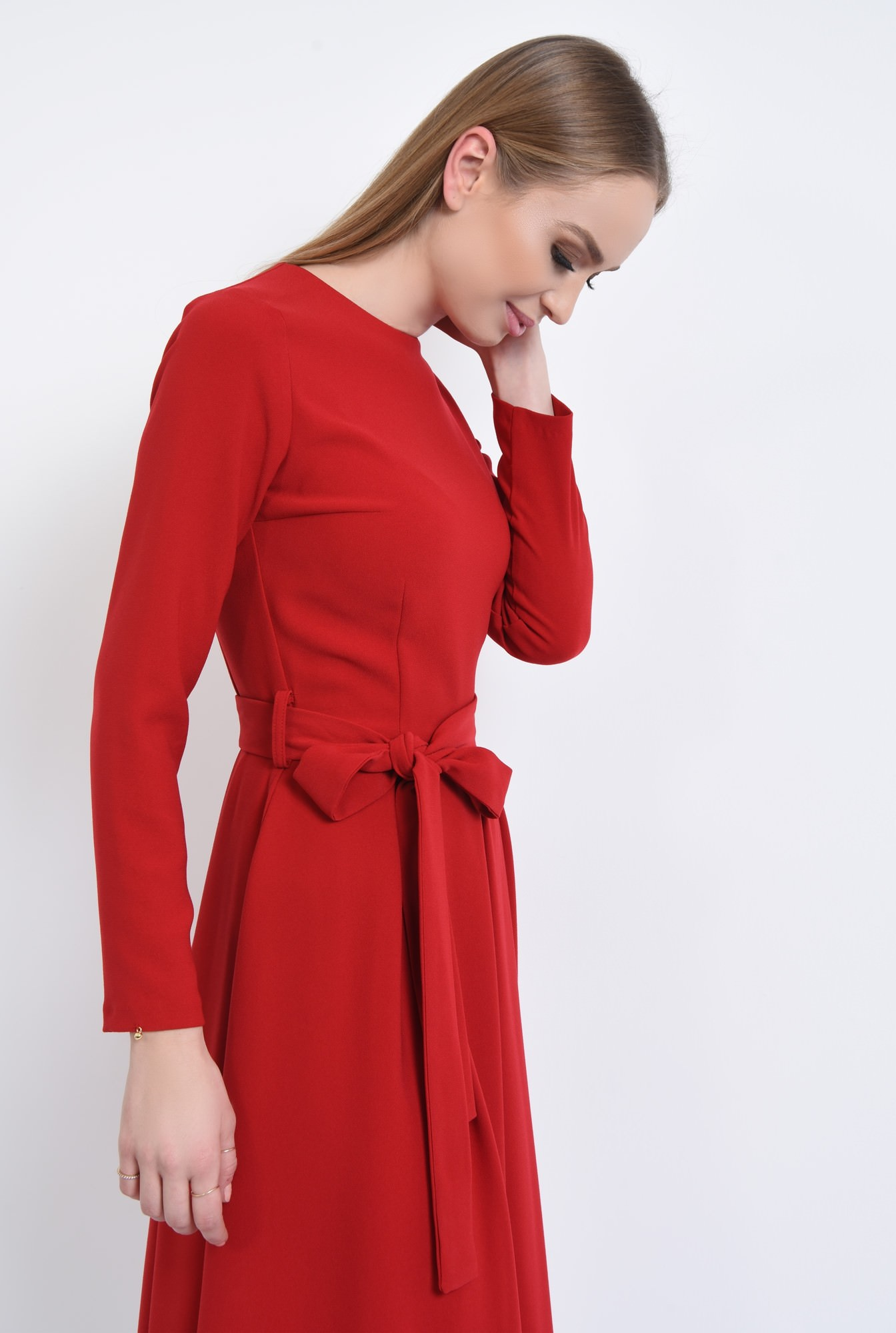2 - rochie casual, midi, plisata, cordon, rosu