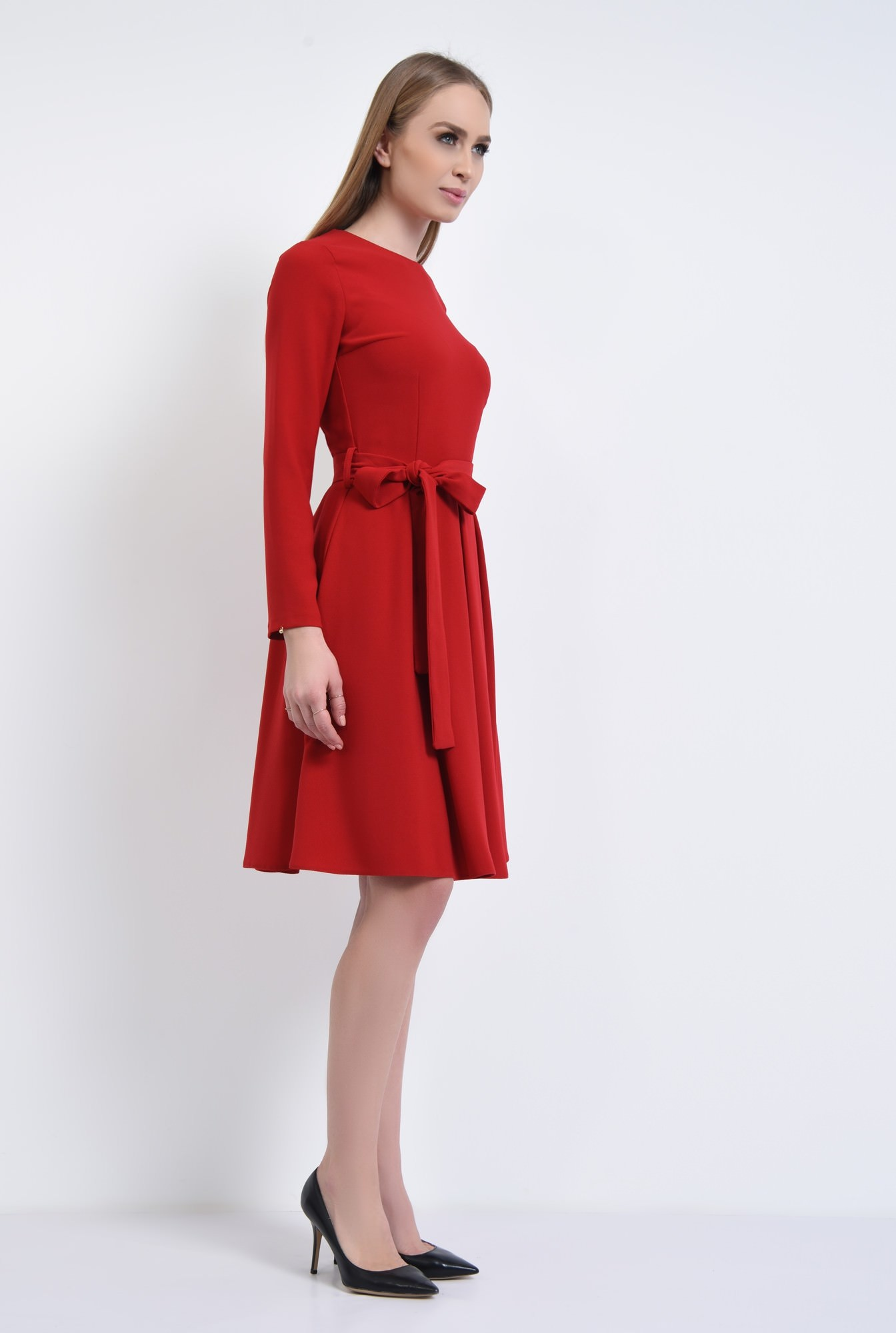 3 - rochie casual, midi, plisata, cordon, rosu
