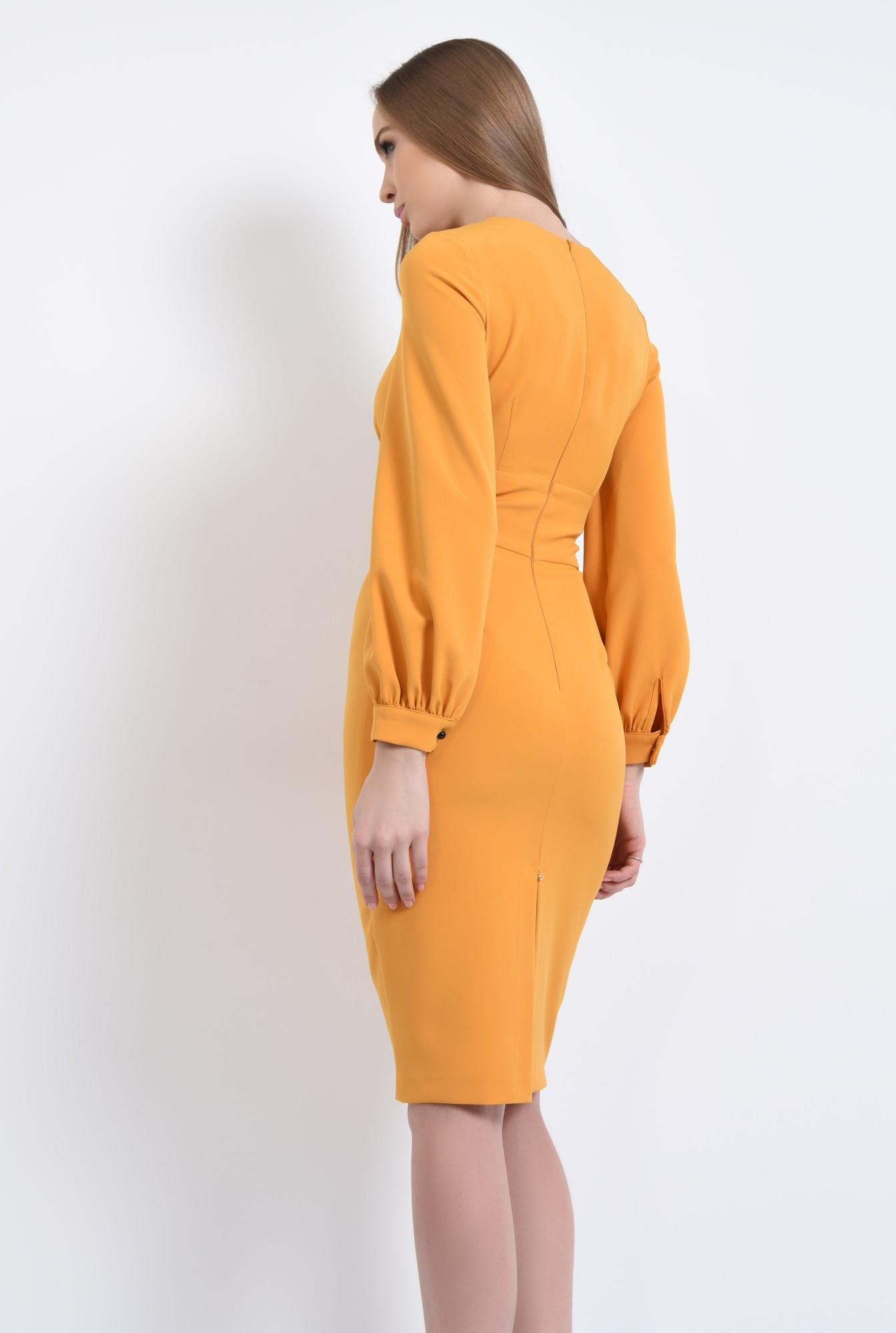 1 - 360 - rochie conica, maneci bufante, mansete, rochii online, funda, nasturi, contrast