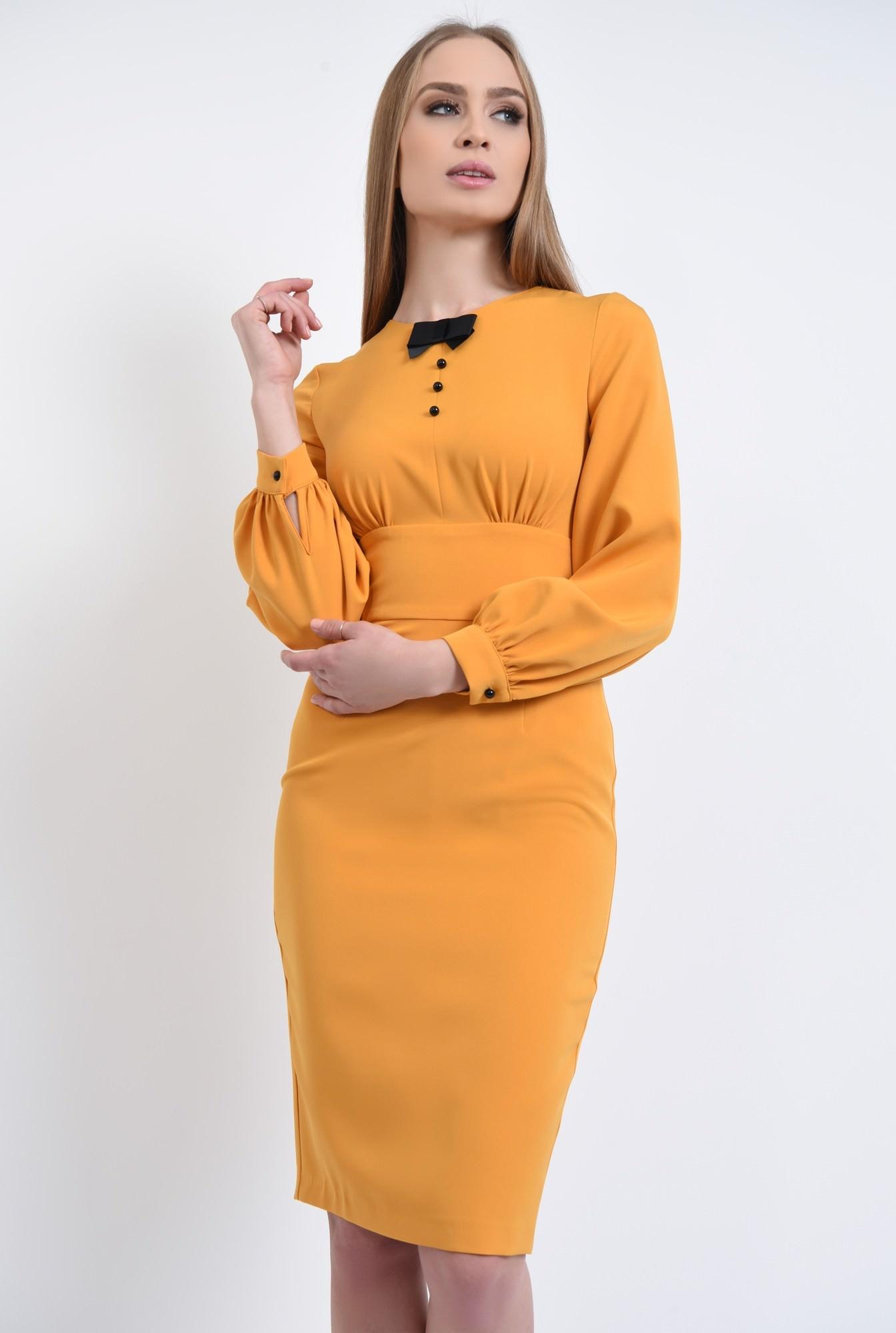 0 - 360 - rochie conica, maneci bufante, mansete, rochii online, funda, nasturi, contrast