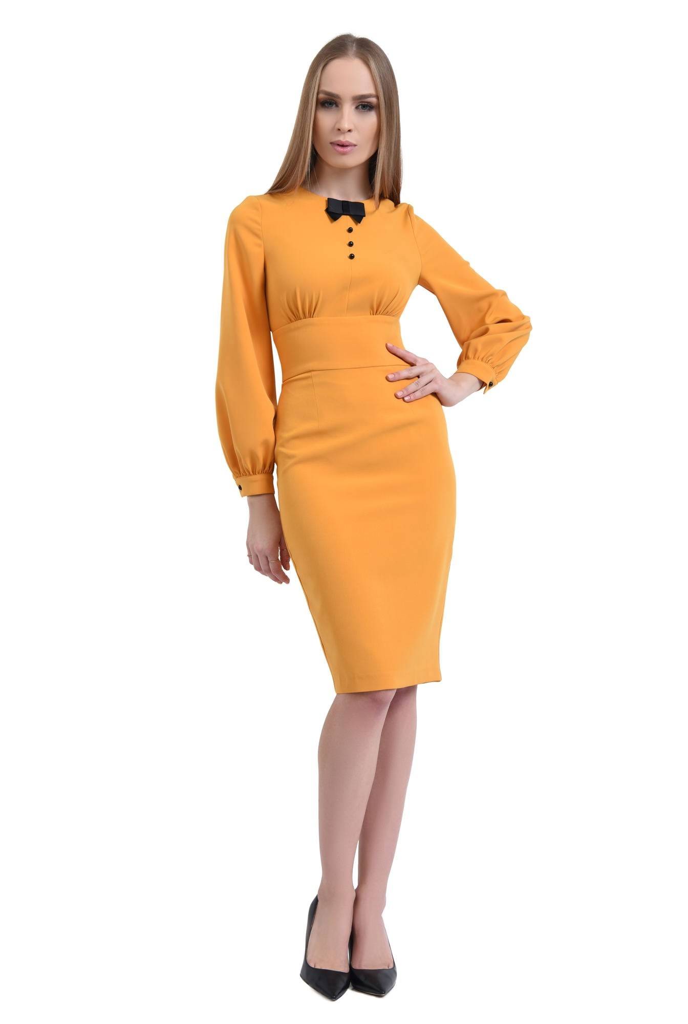 3 - 360 - rochie conica, maneci bufante, mansete, rochii online, funda, nasturi, contrast