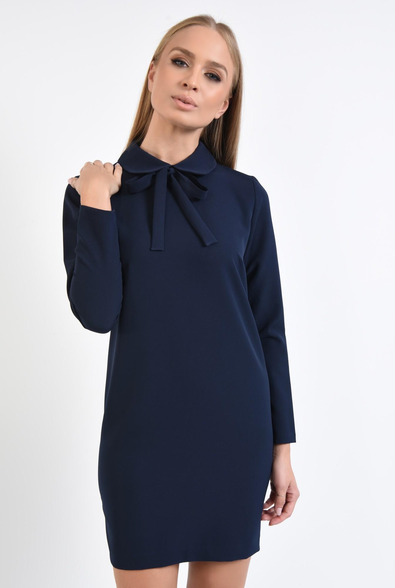 2 - rochie de zi, scurta, bleumarin, maneci lungi