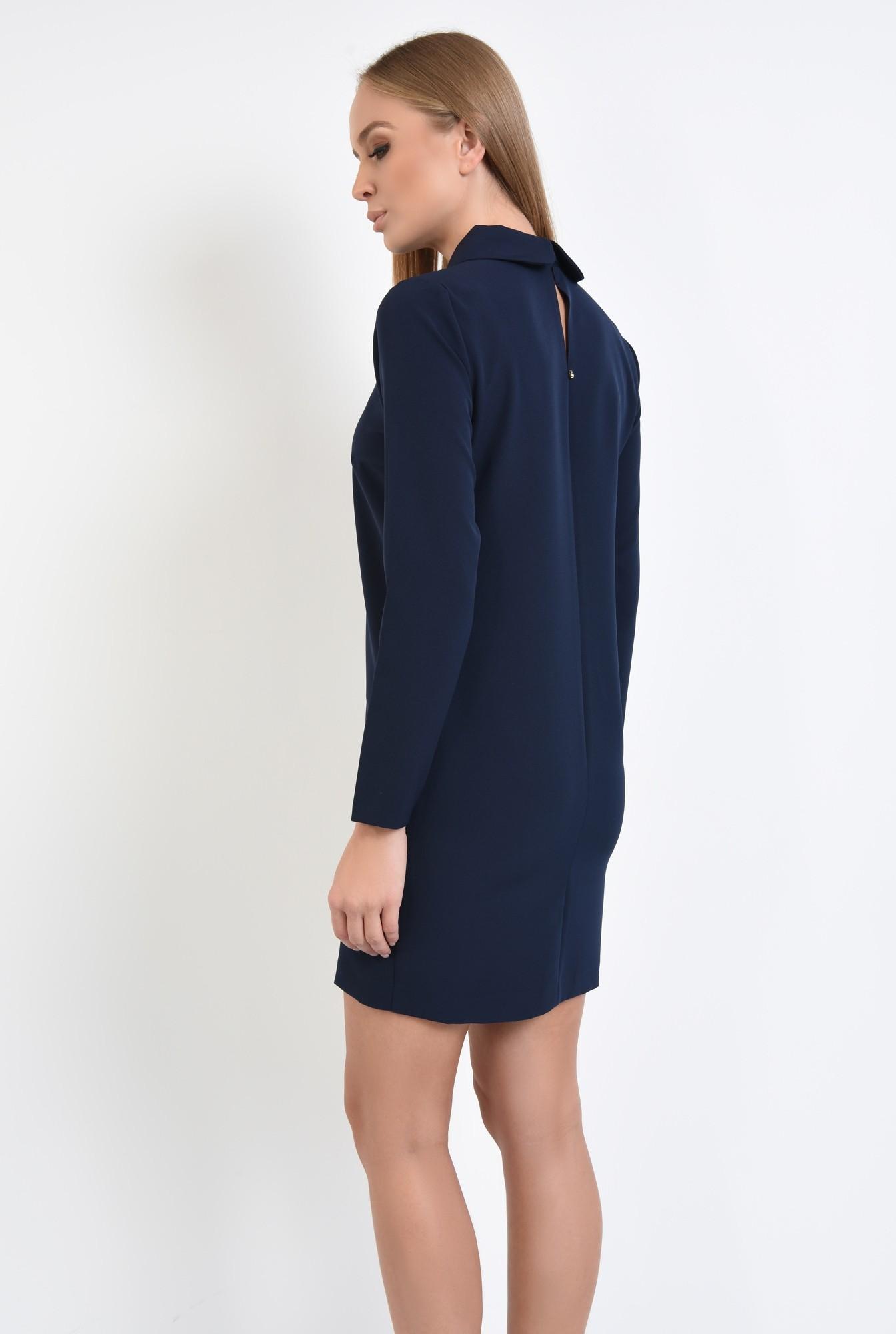 1 - rochie de zi, scurta, bleumarin, maneci lungi