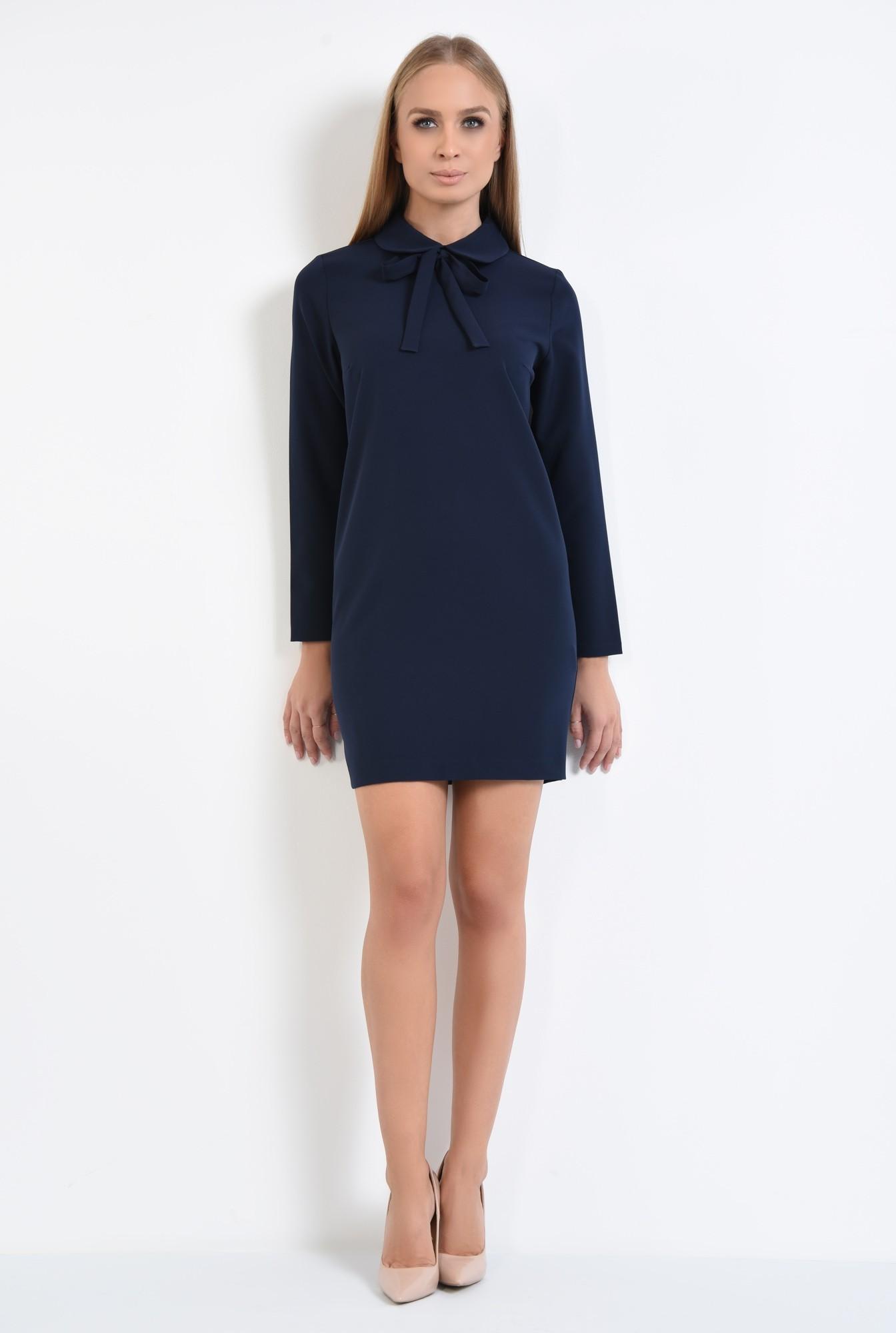3 - rochie de zi, scurta, bleumarin, maneci lungi