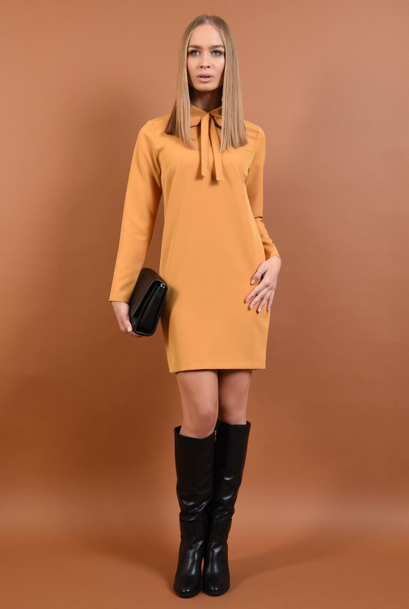 3 - rochie mustar, mini, dreapta, guler rotunjit cu funda