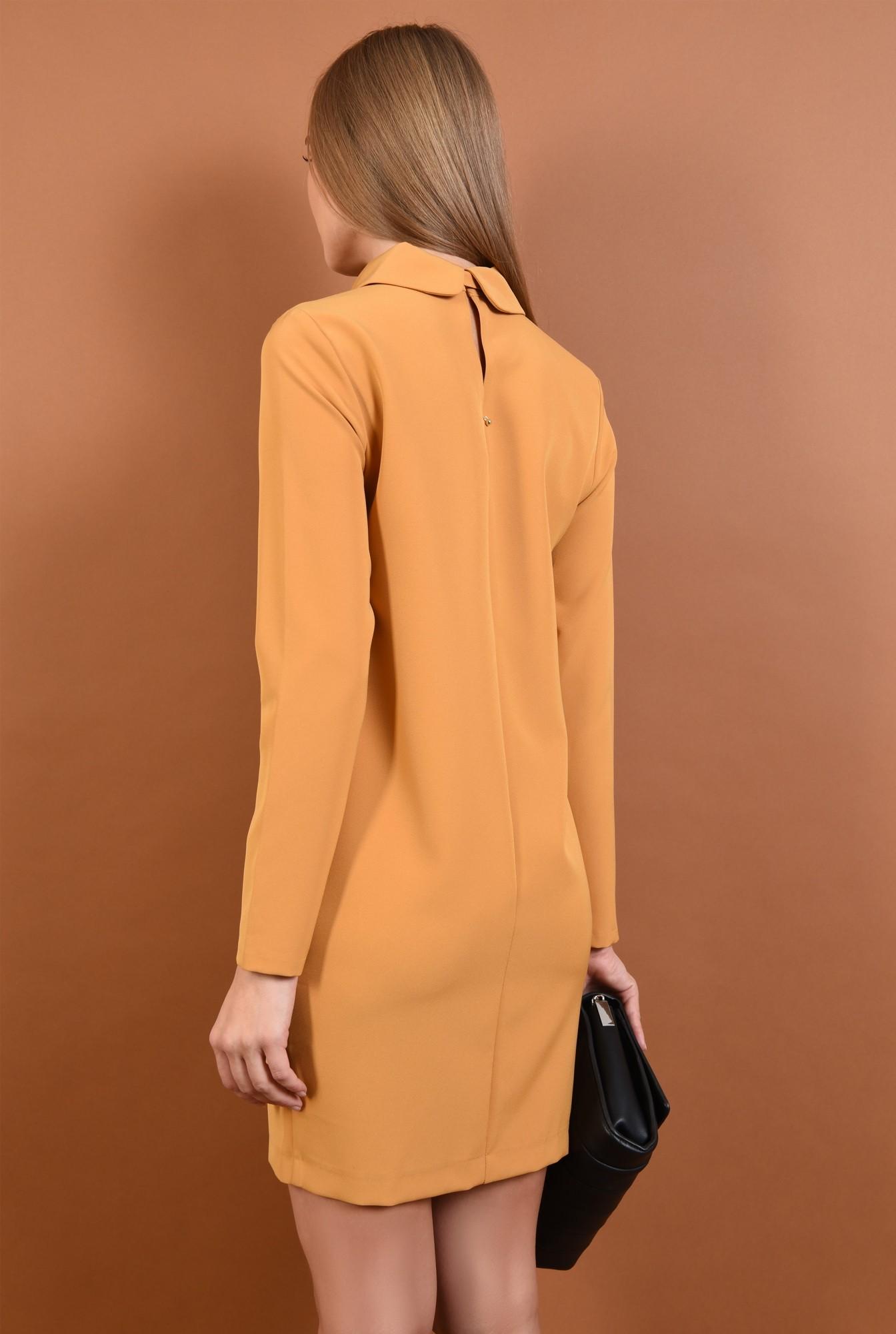 1 - rochie mustar, mini, dreapta, guler rotunjit cu funda