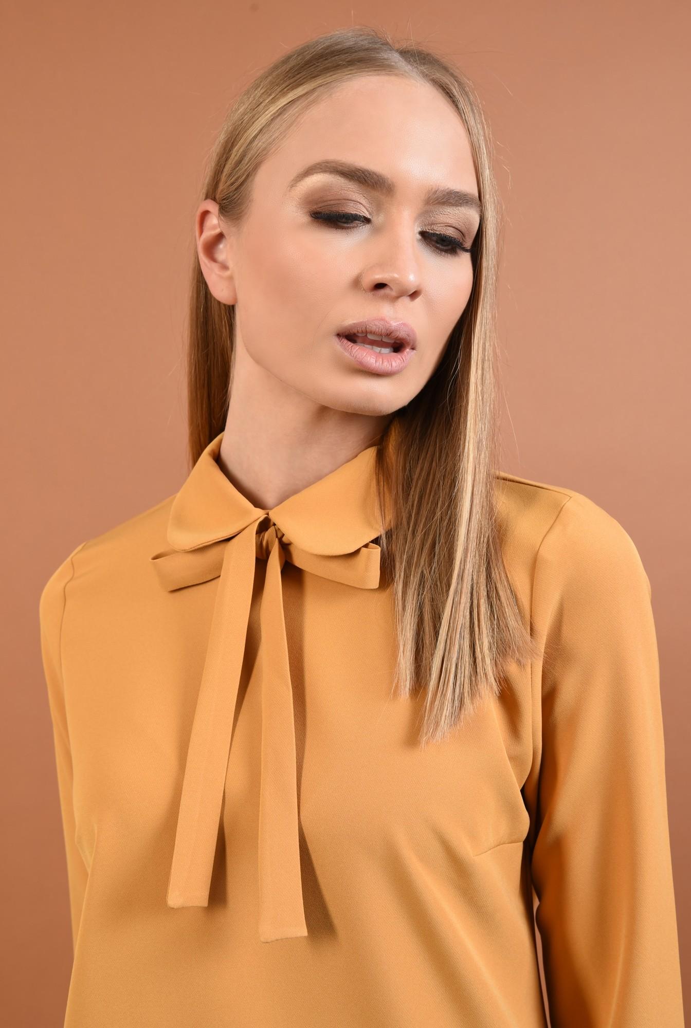 2 - rochie mustar, mini, dreapta, guler rotunjit cu funda