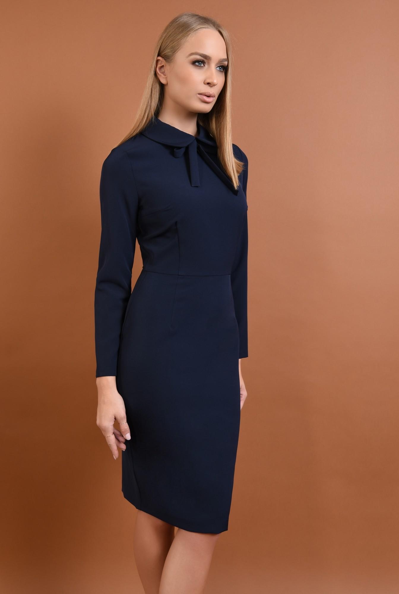 0 - 360 - rochie casual, bleumarin, rochie creion, bodycon, guler rotunjit, funda