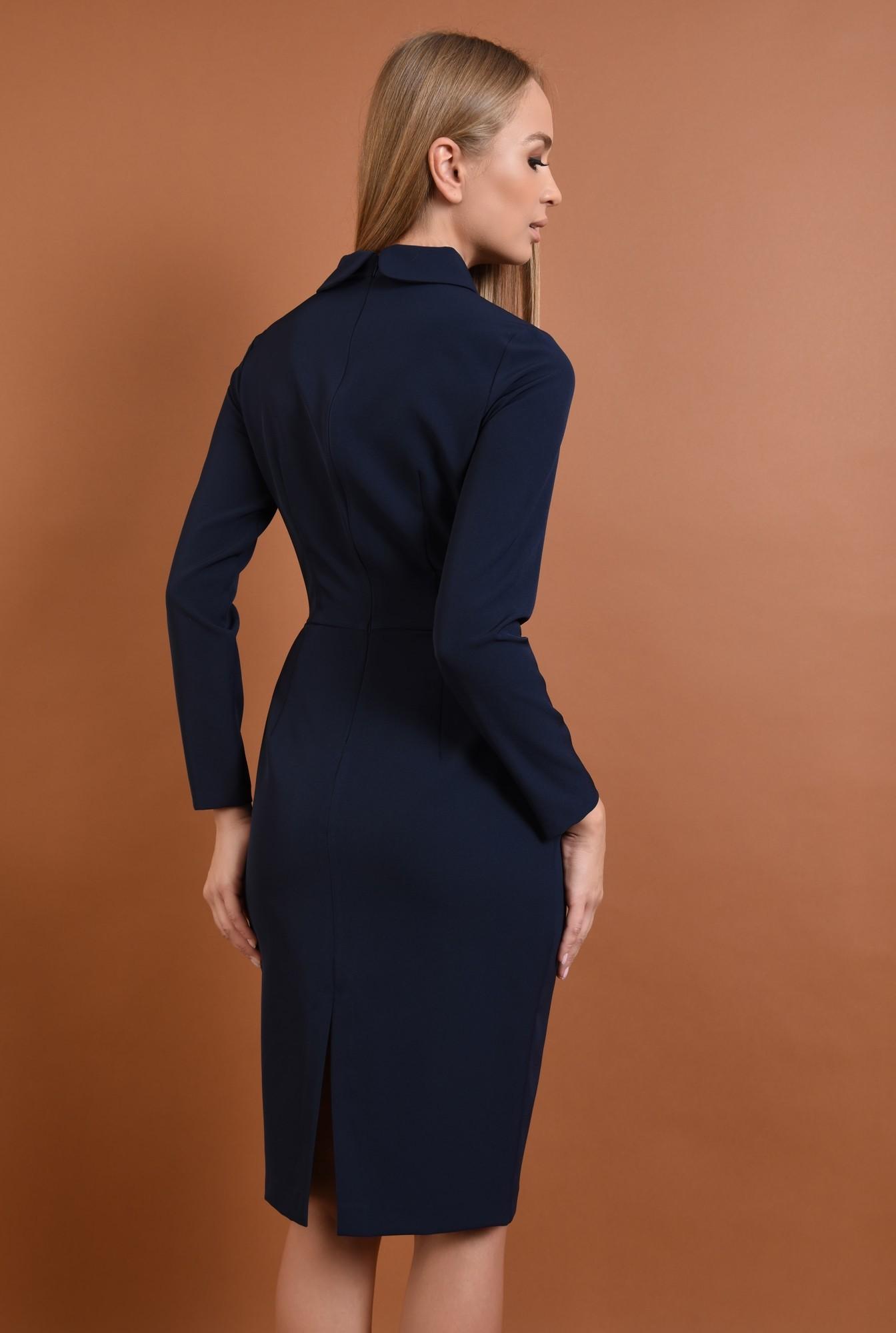 1 - 360 - rochie casual, bleumarin, rochie creion, bodycon, guler rotunjit, funda